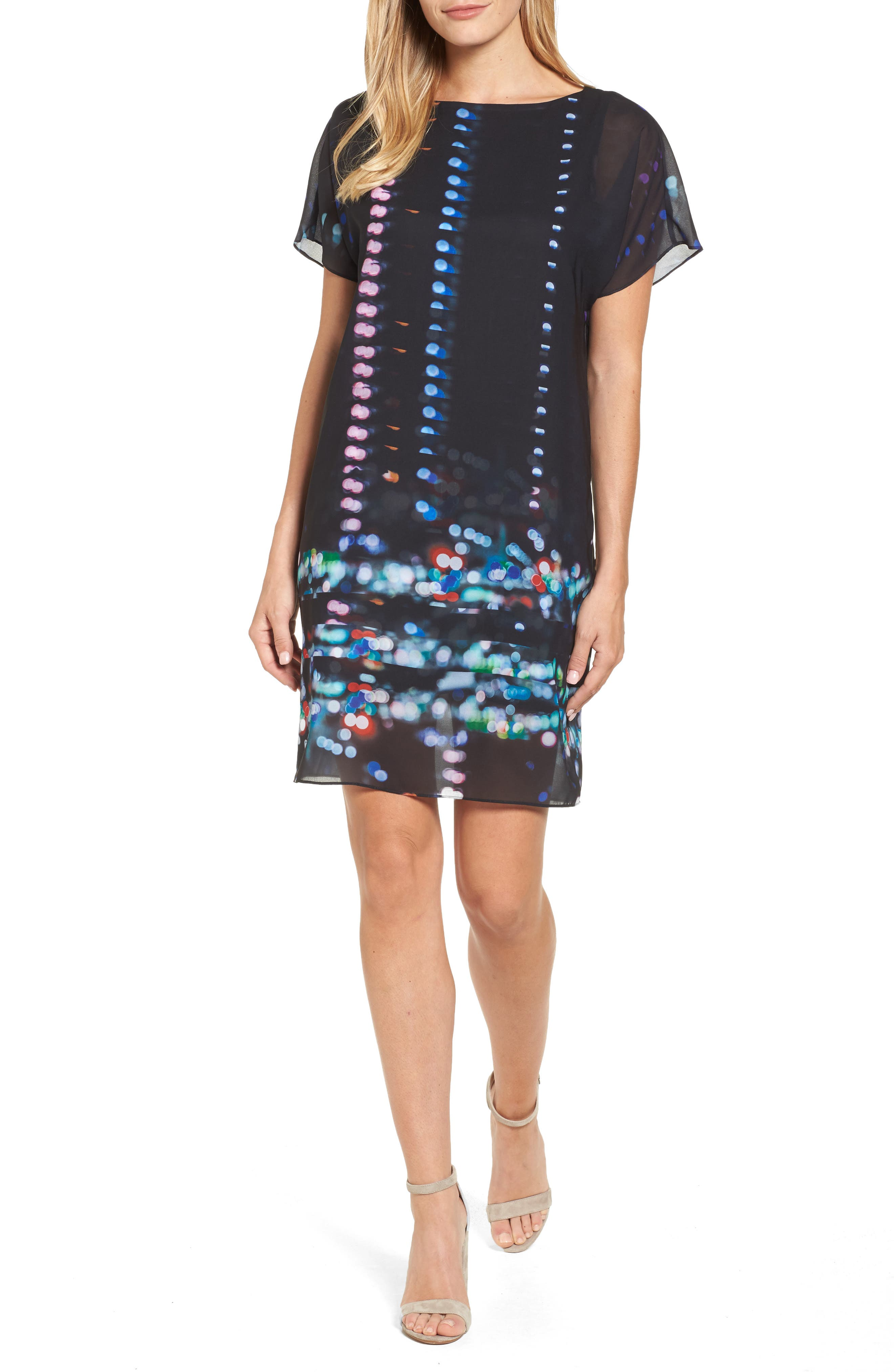 Print Chiffon Shift Dress,                         Main,                         color, 012