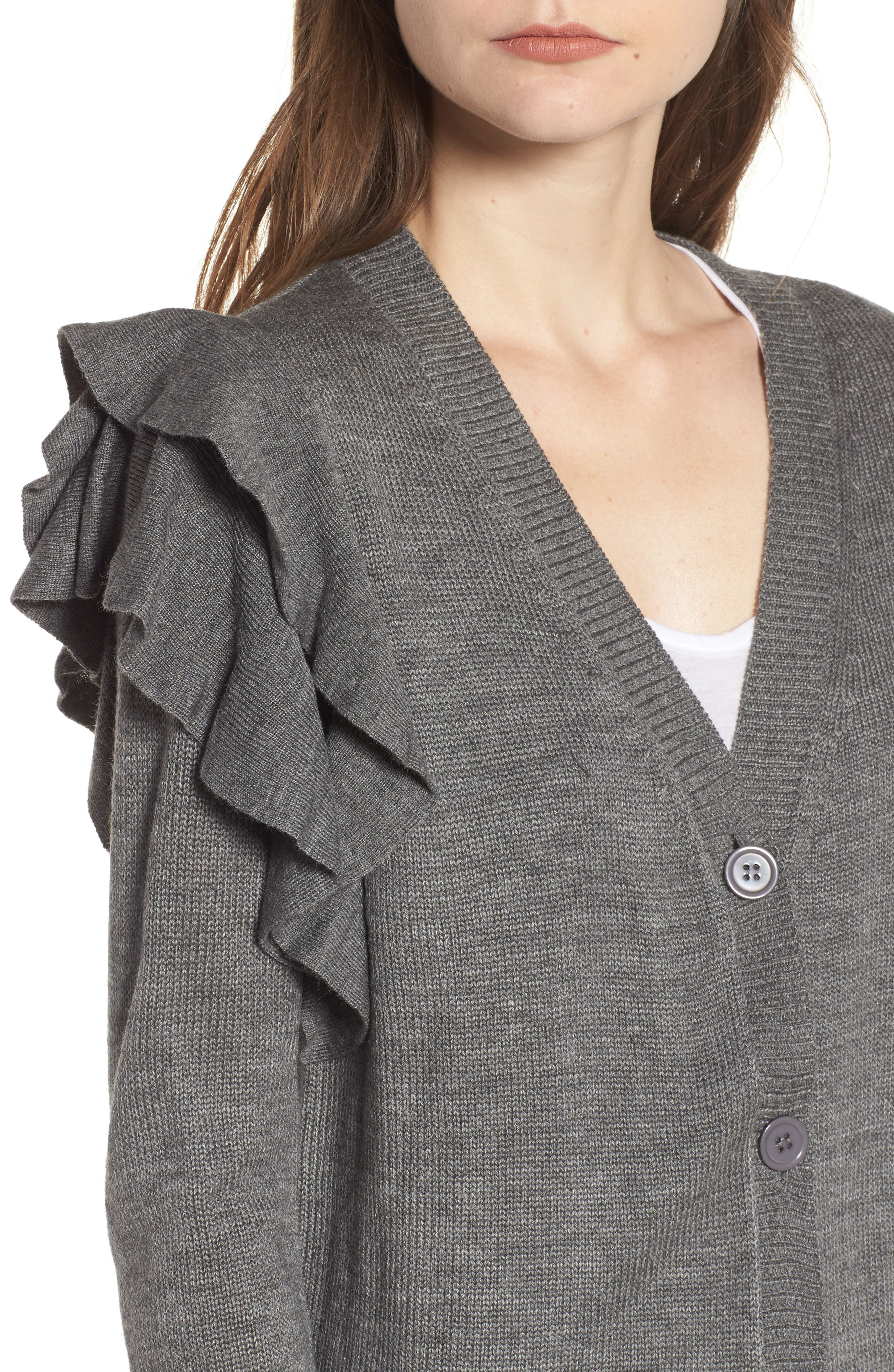 Ruffle Shoulder Cardigan,                             Alternate thumbnail 11, color,