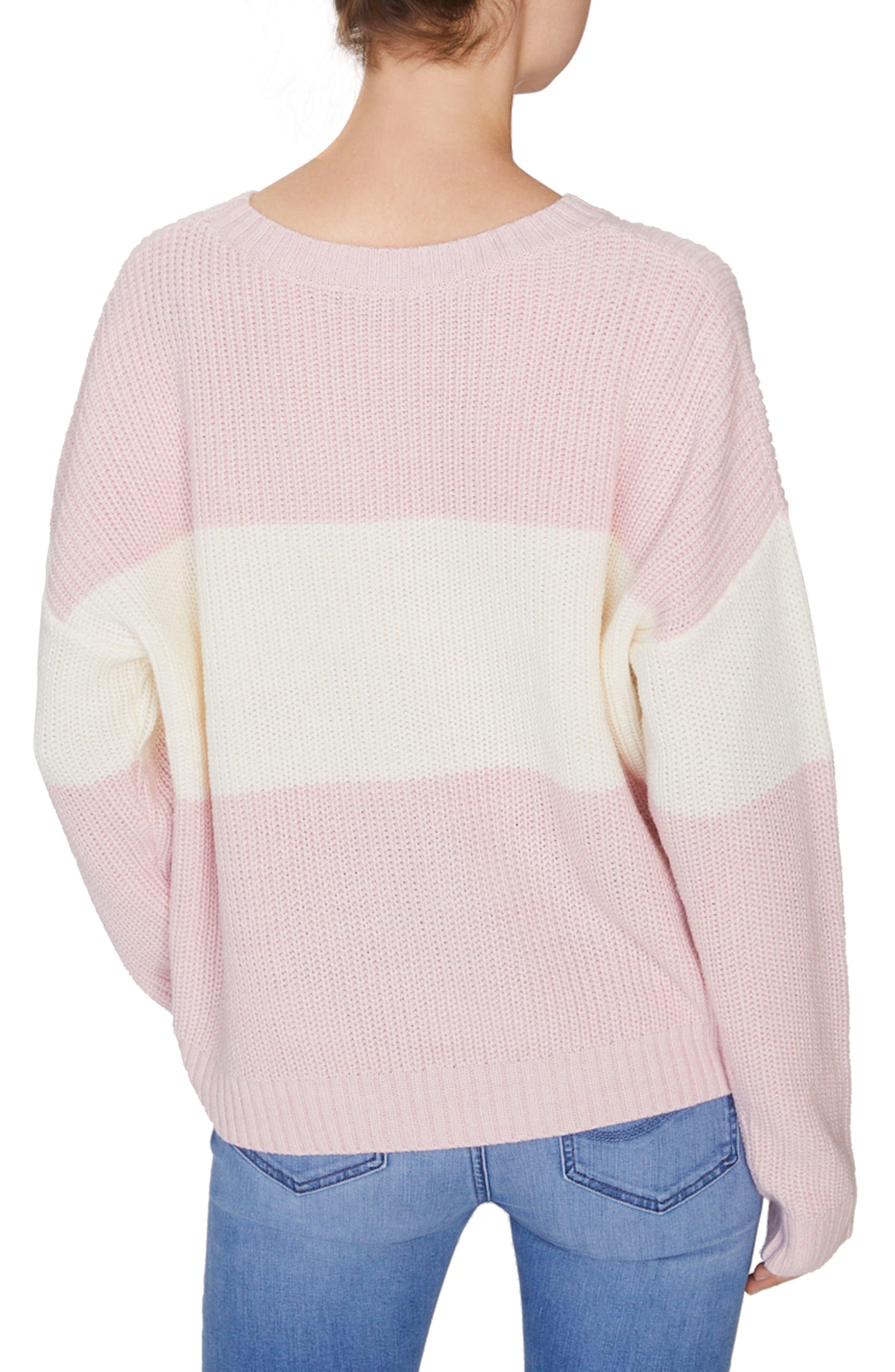 SANCTUARY,                             Billie Colorblock Shaker Sweater,                             Alternate thumbnail 2, color,                             HEATHER CHERRYBLOSSOM/ NATURAL
