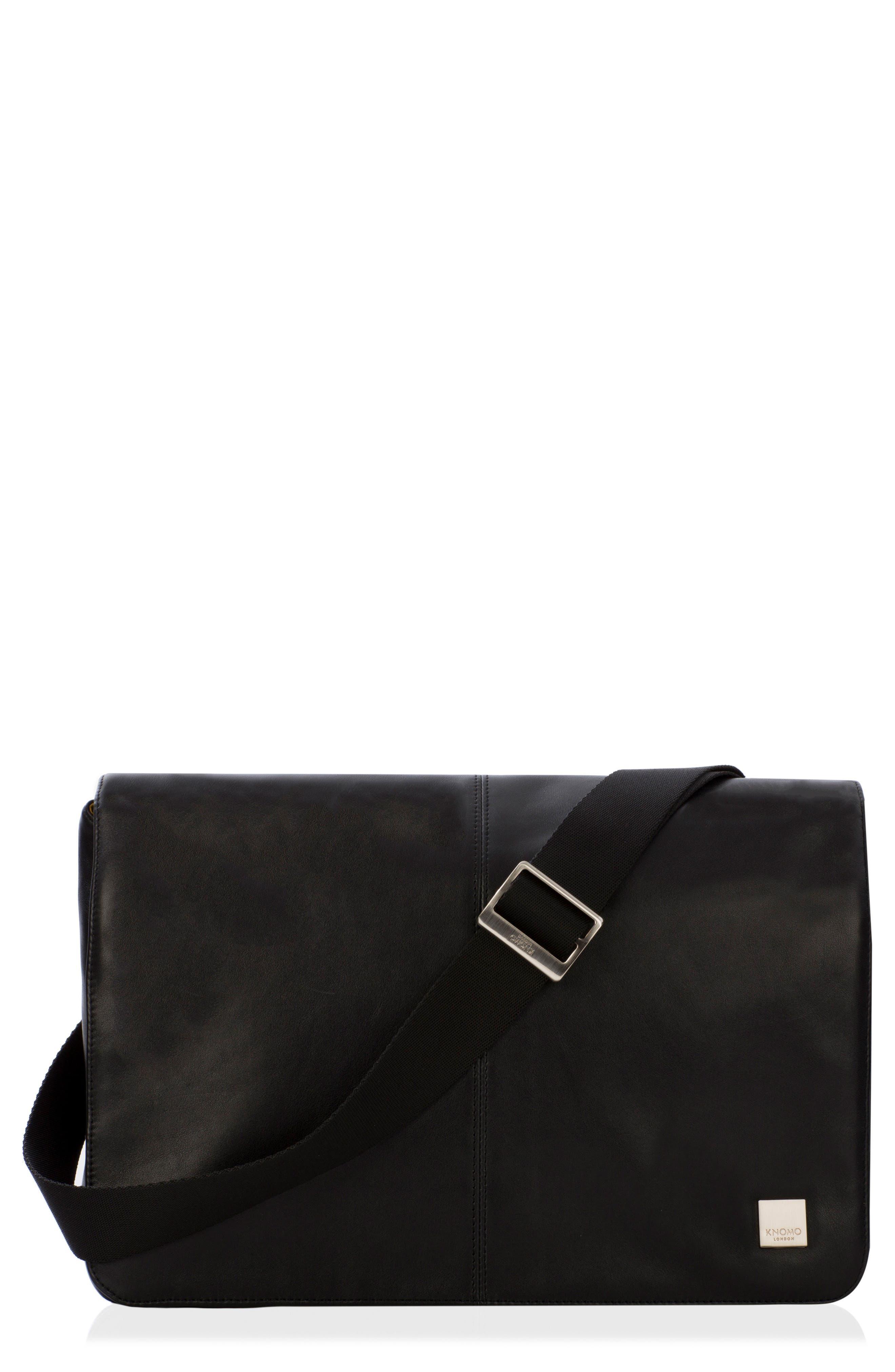Brompton Kinsale RFID Leather Messenger Bag,                             Main thumbnail 1, color,                             001
