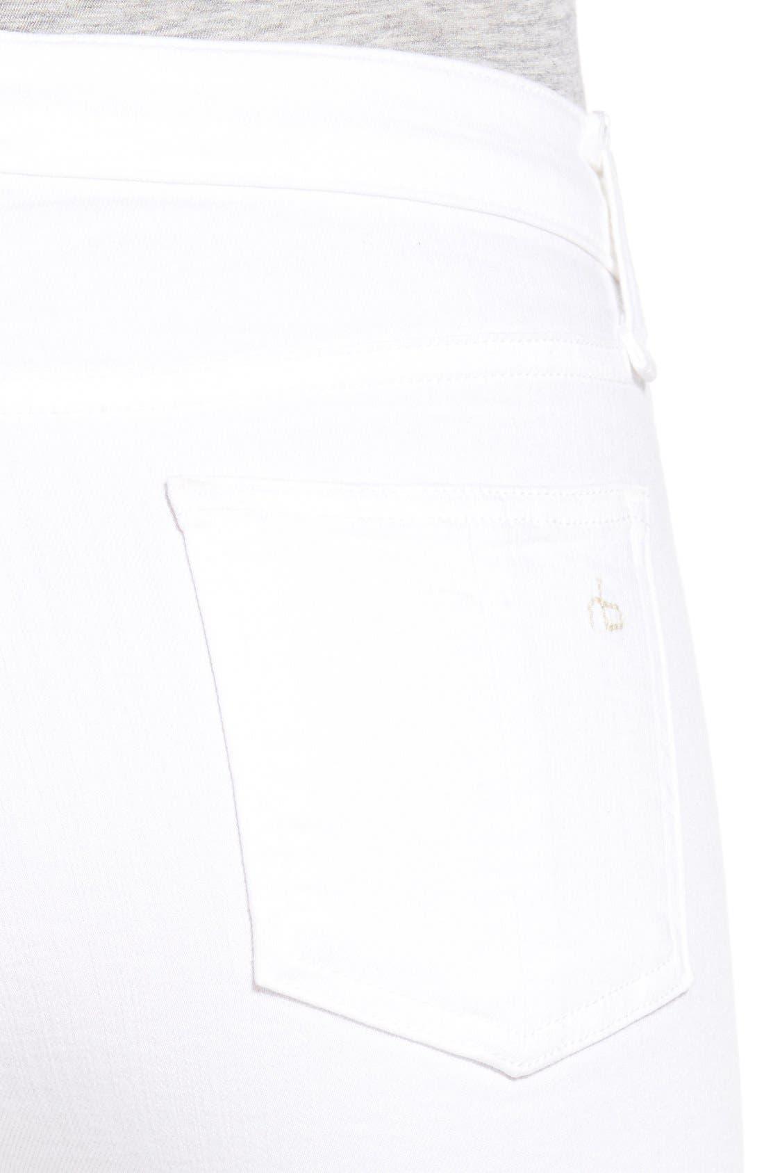 High Rise Raw Hem Crop Flare Jeans,                             Alternate thumbnail 4, color,                             101