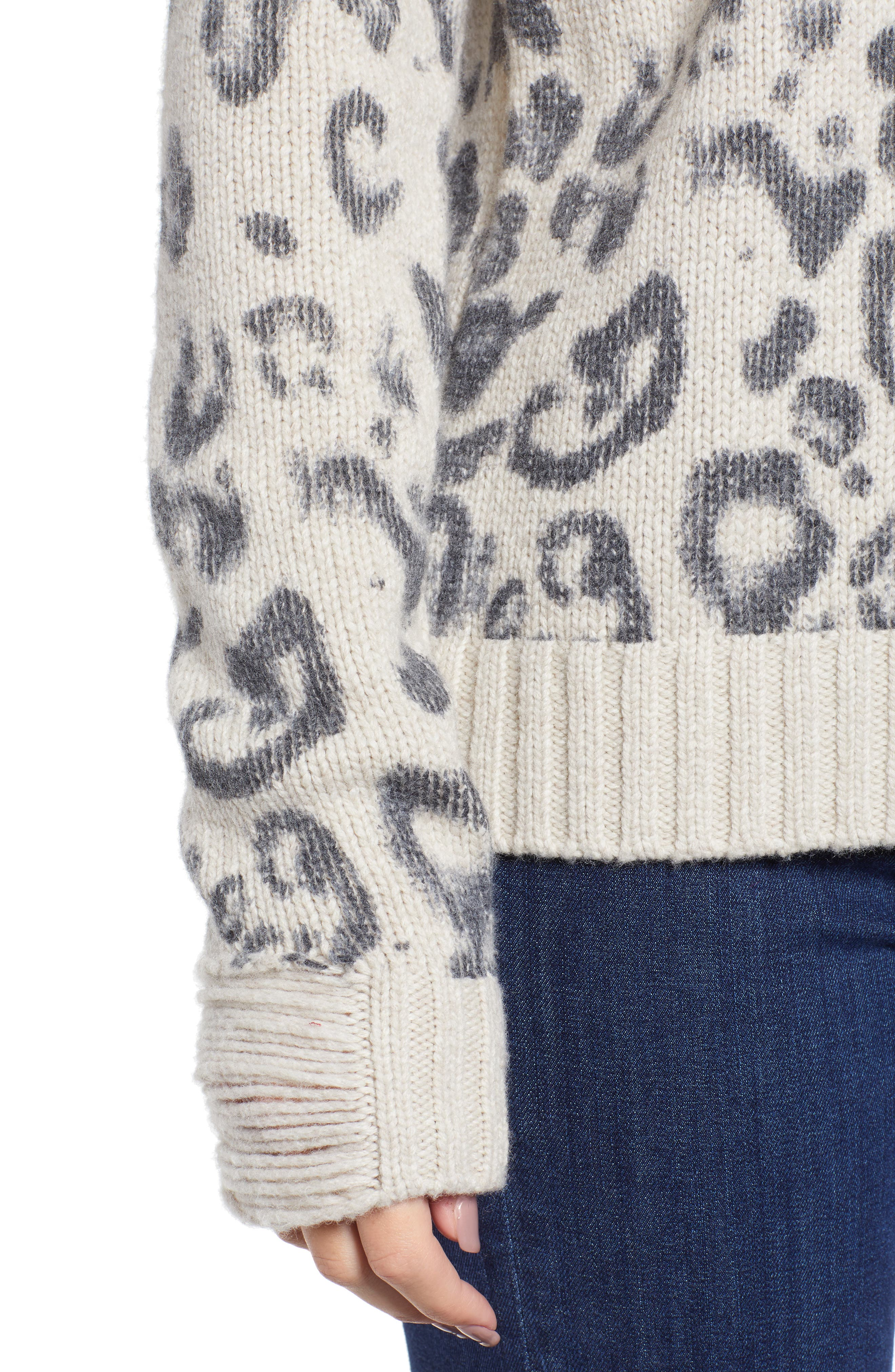 Leopard V-Neck Sweater,                             Alternate thumbnail 4, color,