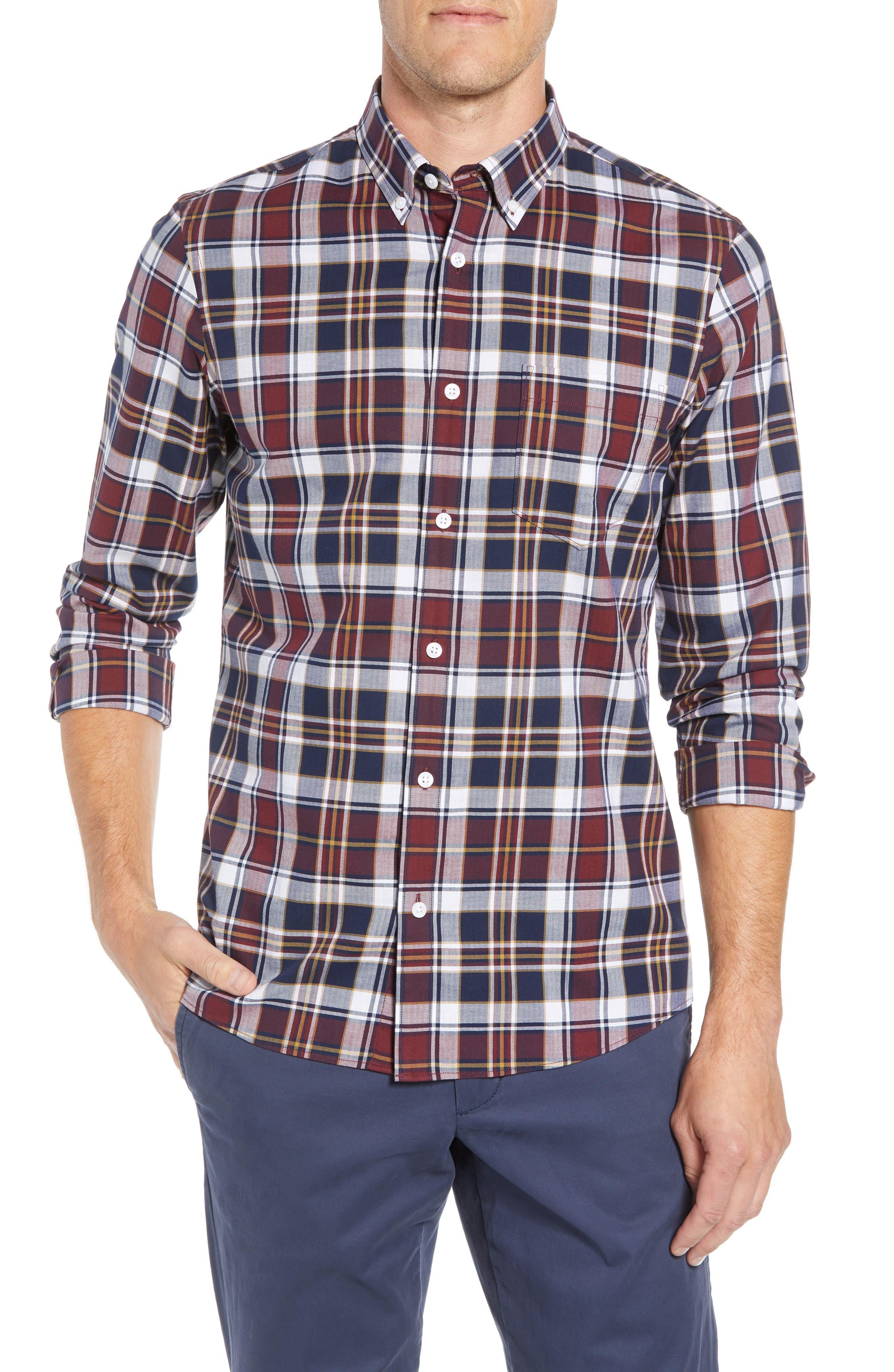 Trim Fit Plaid Sport Shirt,                         Main,                         color, 410