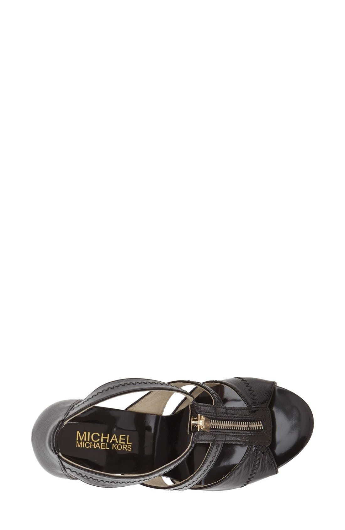 MICHAEL MICHAEL KORS,                             'Berkley' T-Strap Sandal,                             Main thumbnail 1, color,                             001