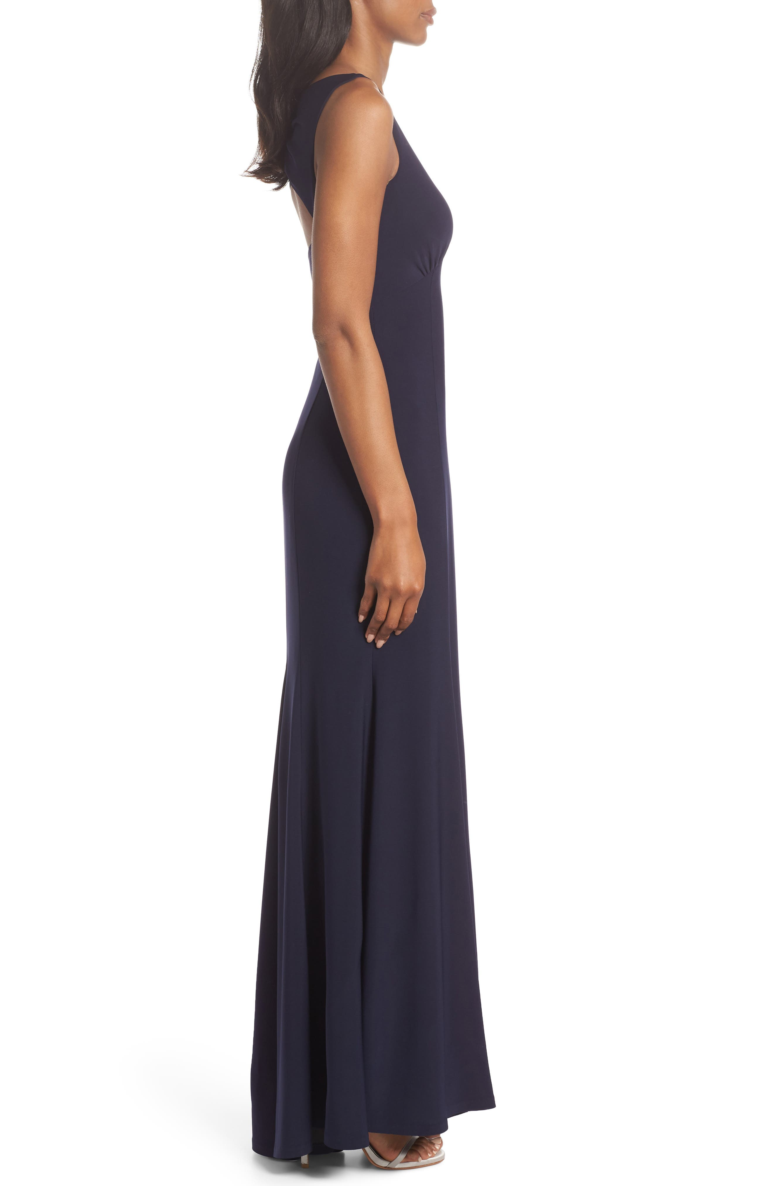 Open Back Gown,                             Alternate thumbnail 3, color,                             NAVY