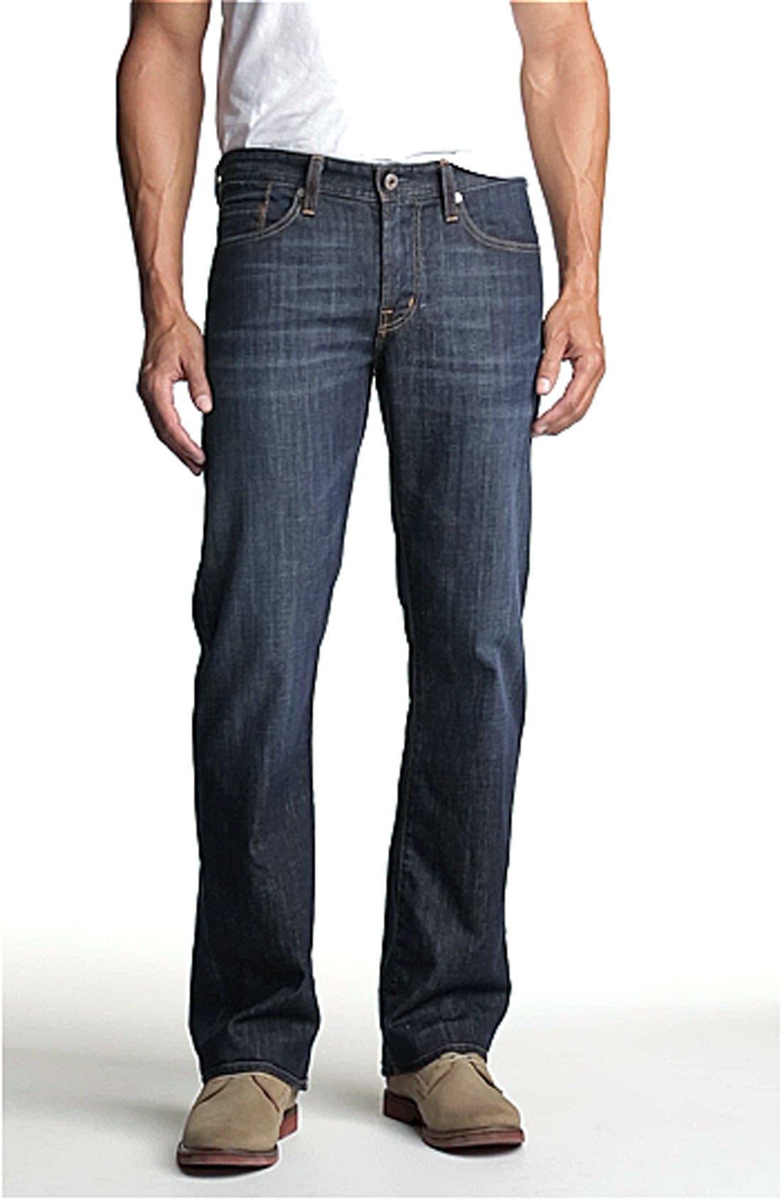 Protégé Straight Leg Jeans,                             Alternate thumbnail 3, color,                             HUNTS WASH