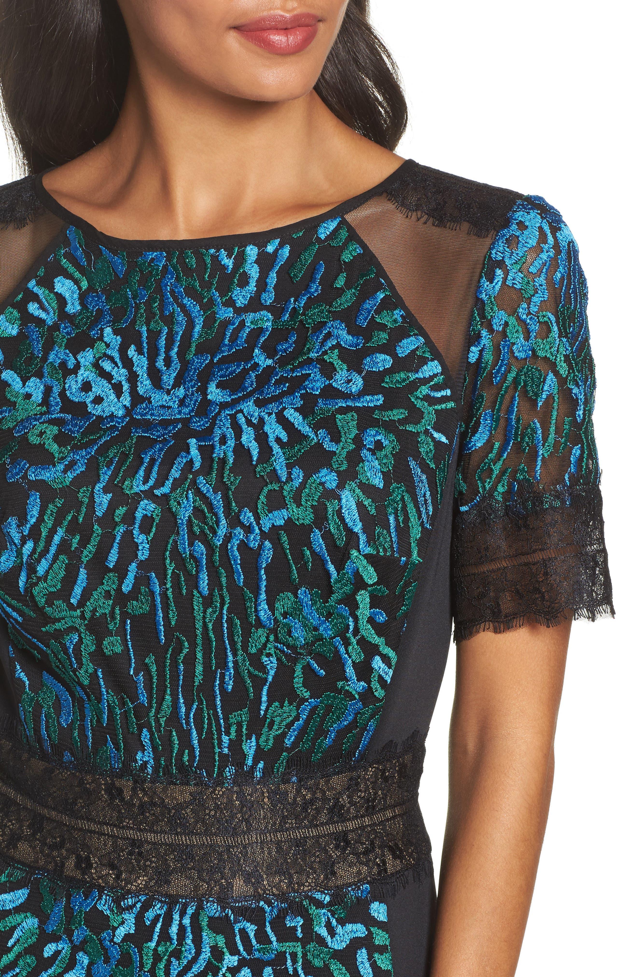 Illusion Lace & Embroidered Mesh Sheath Dress,                             Alternate thumbnail 4, color,