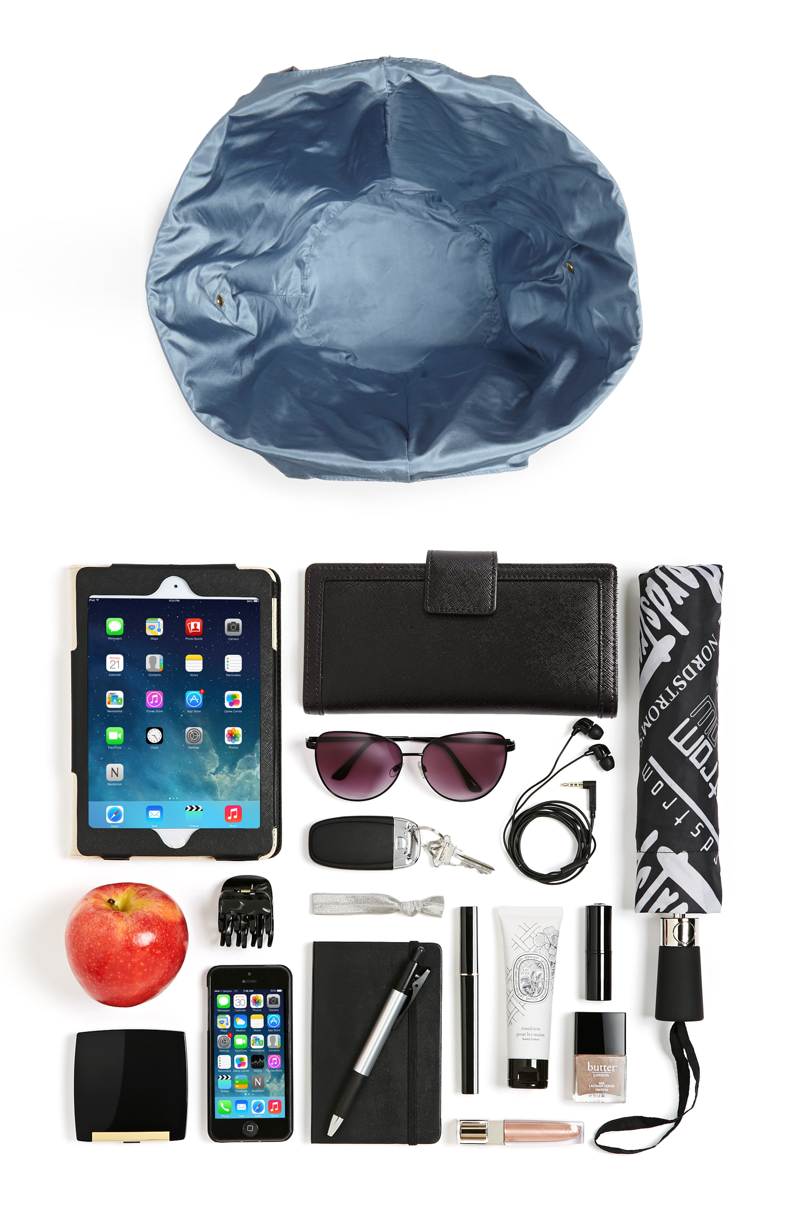 Large Leather Bucket Bag,                             Alternate thumbnail 7, color,                             BLACK W/ ENGLISH BLUE