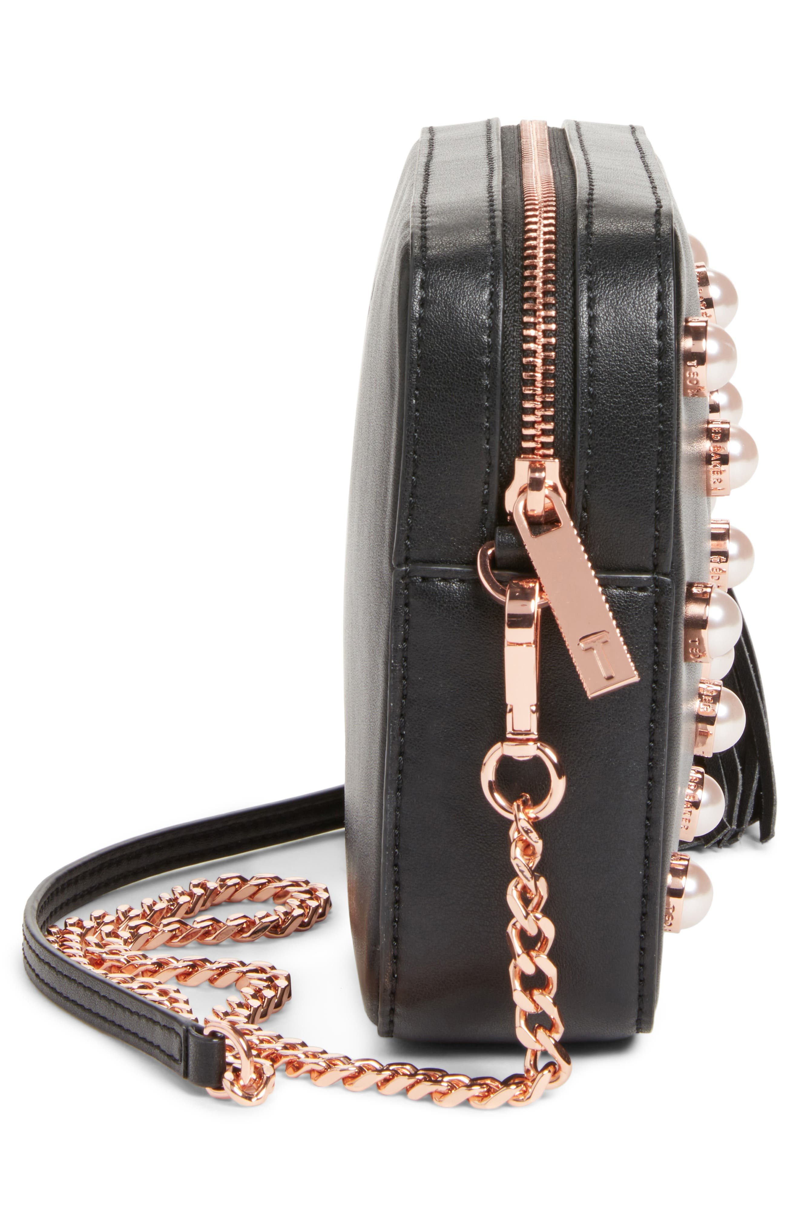 Alessia Imitation Pearl Embellished Leather Crossbody,                             Alternate thumbnail 5, color,                             001