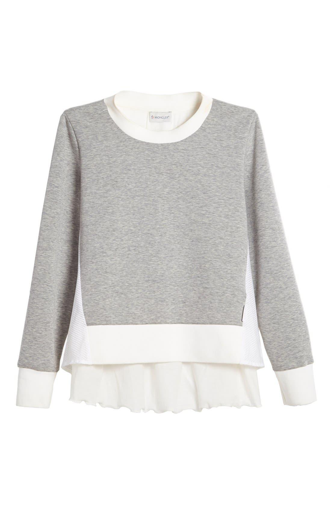 'Maglia Girocollo' Mixed Media Sweatshirt,                             Alternate thumbnail 4, color,                             021