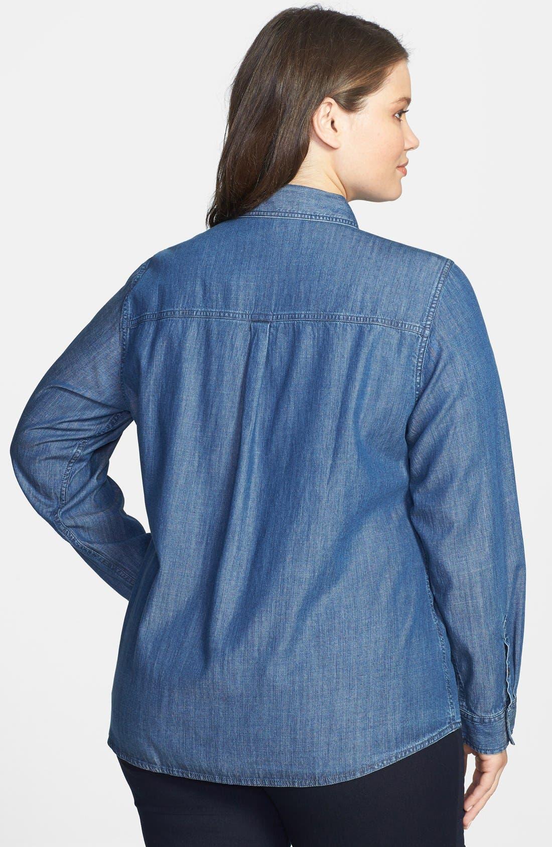 Classic Collar Denim Chambray Shirt,                             Alternate thumbnail 3, color,                             480