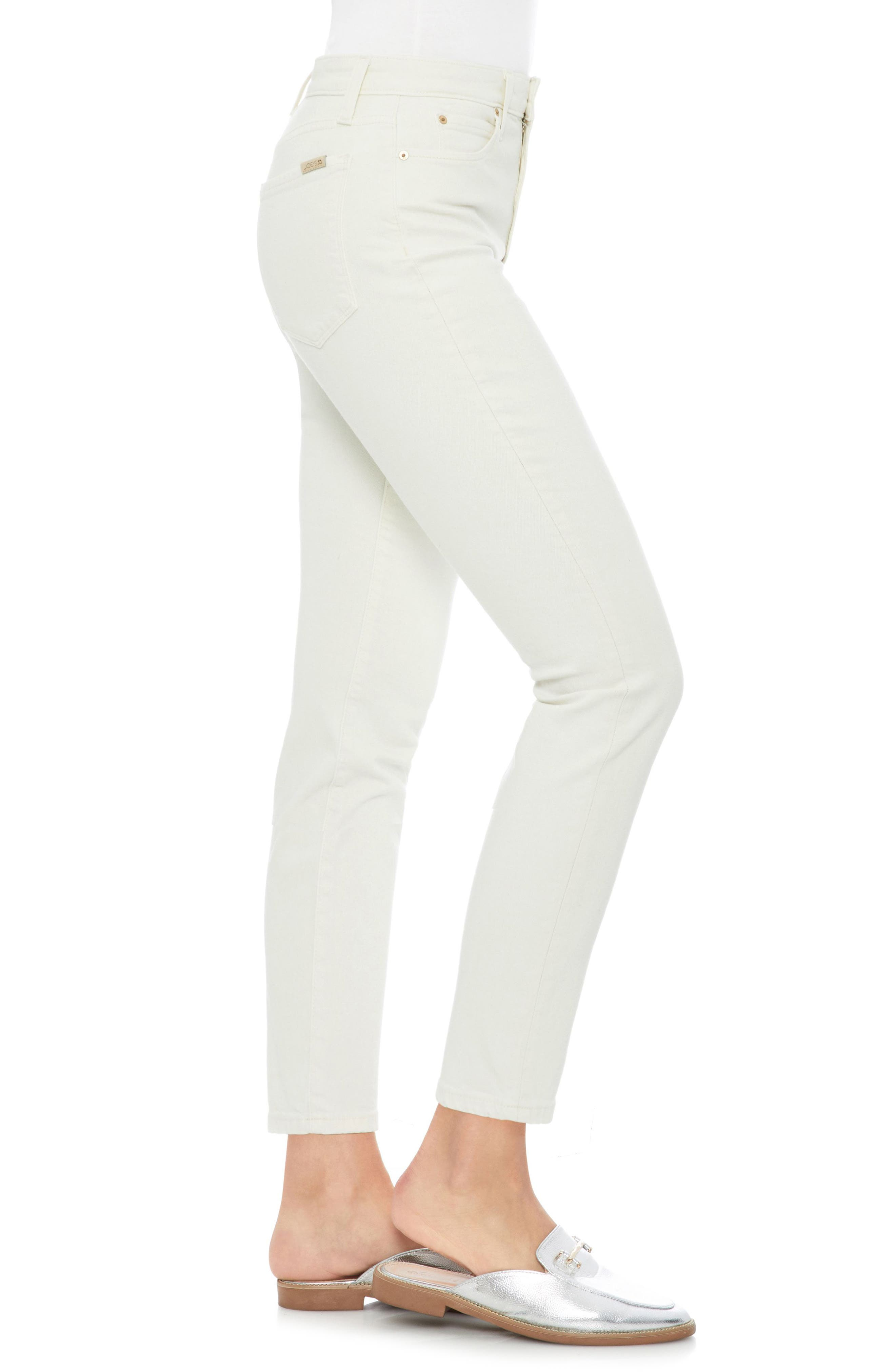 Smith High Waist Ankle Slim Jeans,                             Alternate thumbnail 3, color,                             100