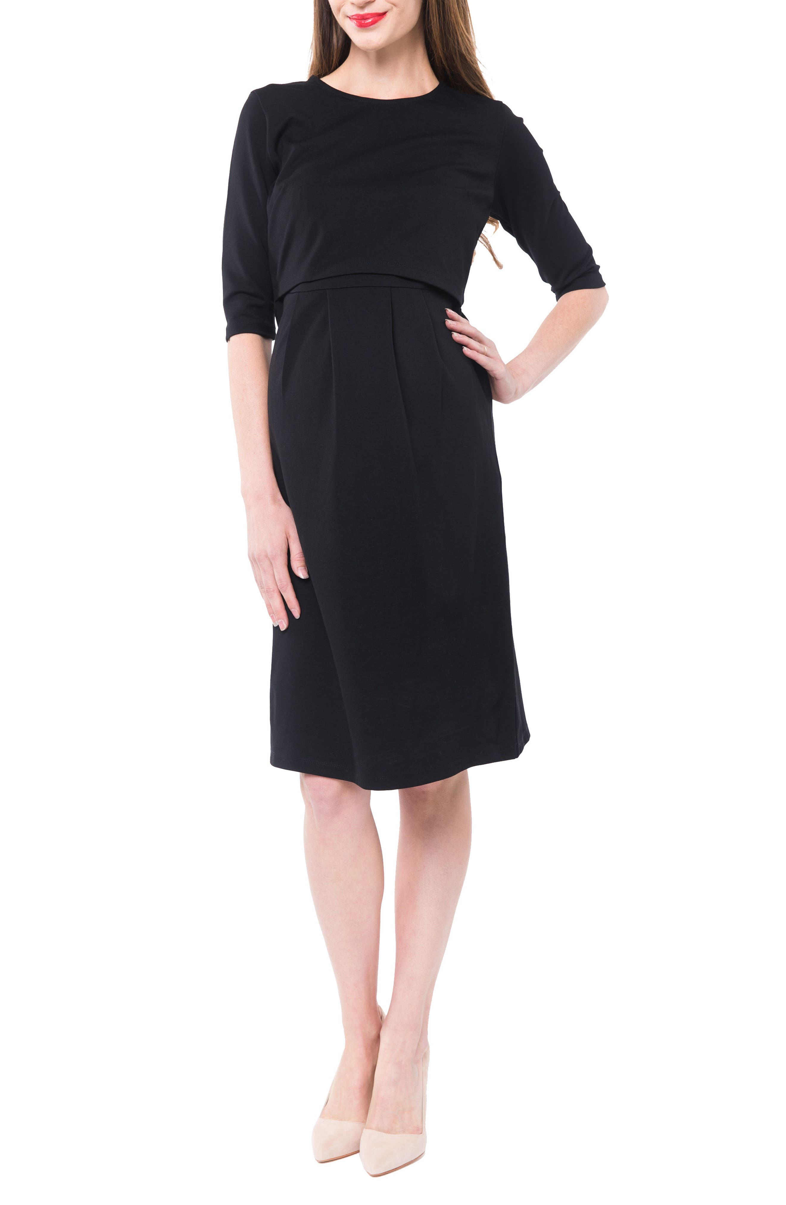 Valentina Ponté Knit Maternity/Nursing Dress,                             Main thumbnail 1, color,                             BLACK