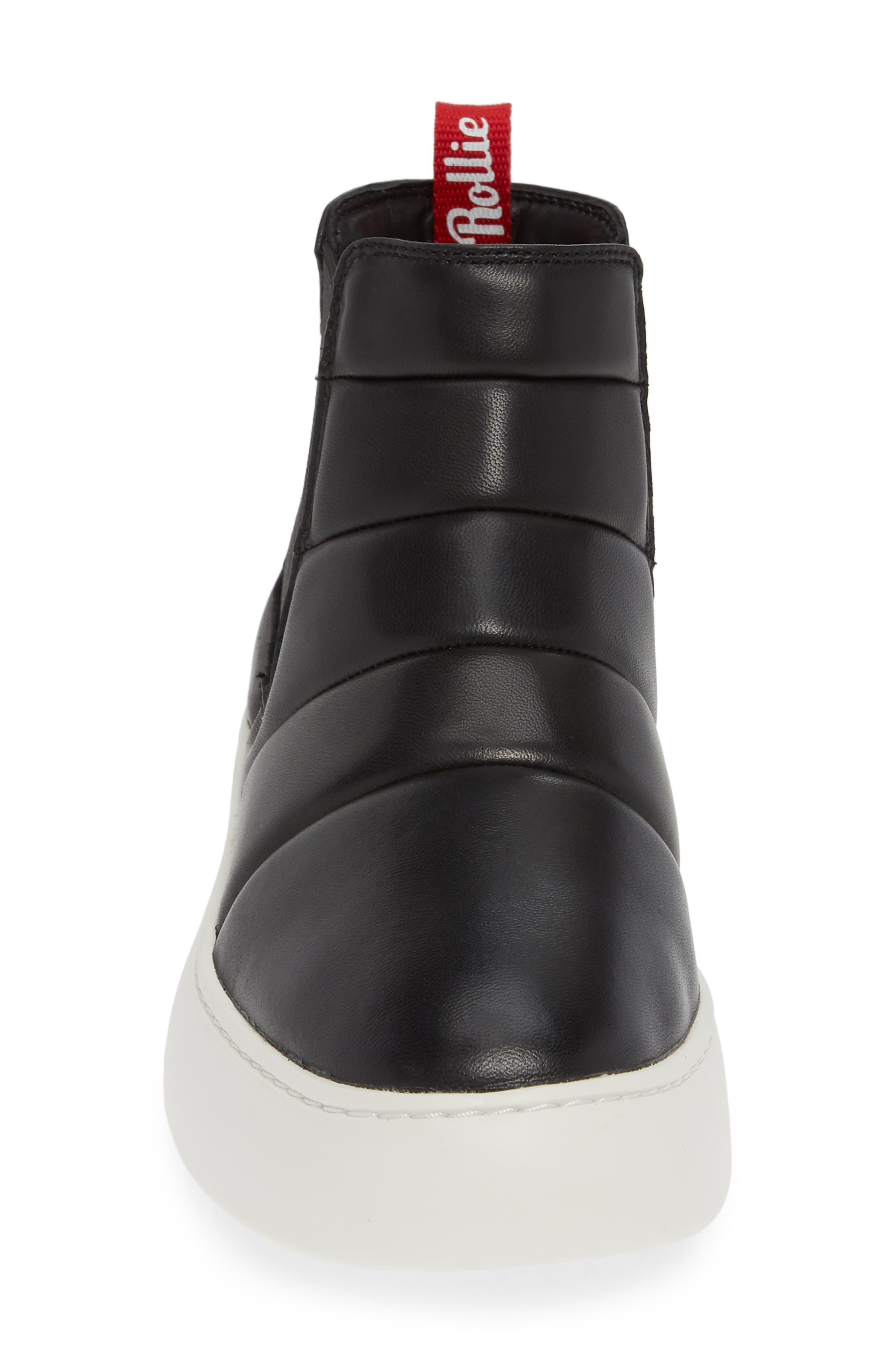 Snow City Quilted Chelsea Sneaker Boot,                             Alternate thumbnail 4, color,                             BLACK NAPPA