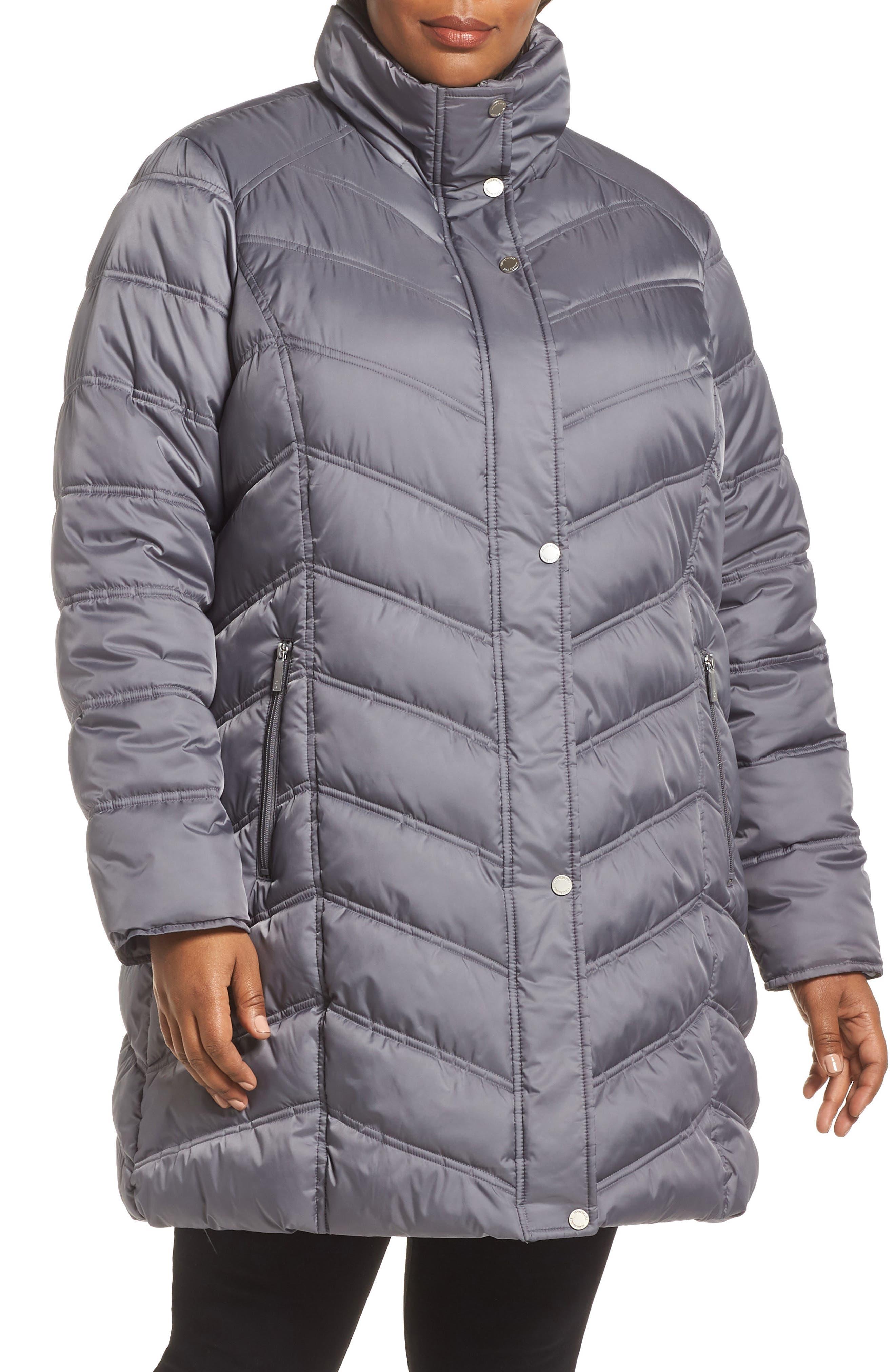 Faux Fur Trim Puffer Jacket,                             Alternate thumbnail 4, color,                             085