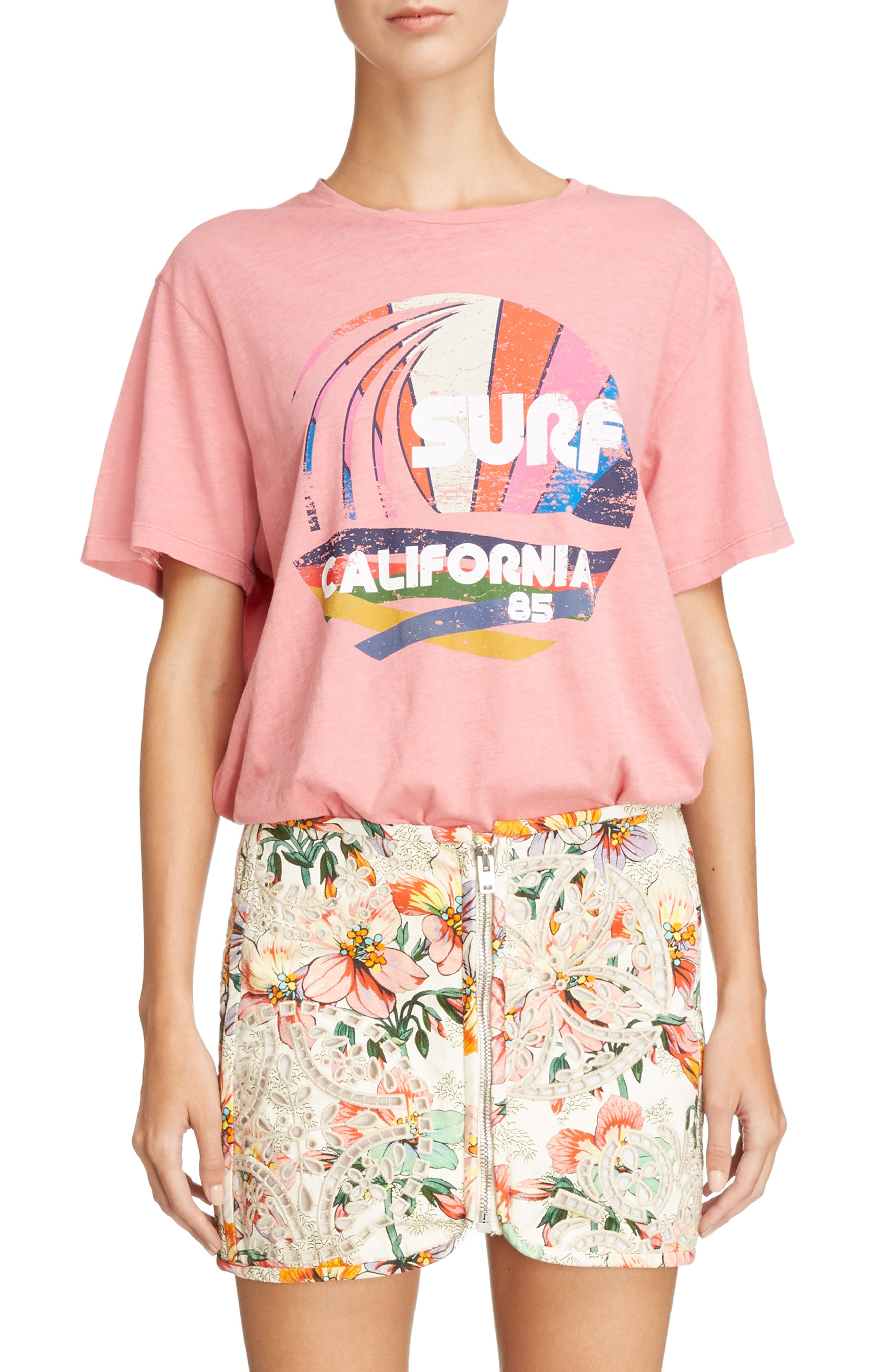 Surf California Tee,                         Main,                         color, CANDY PINK