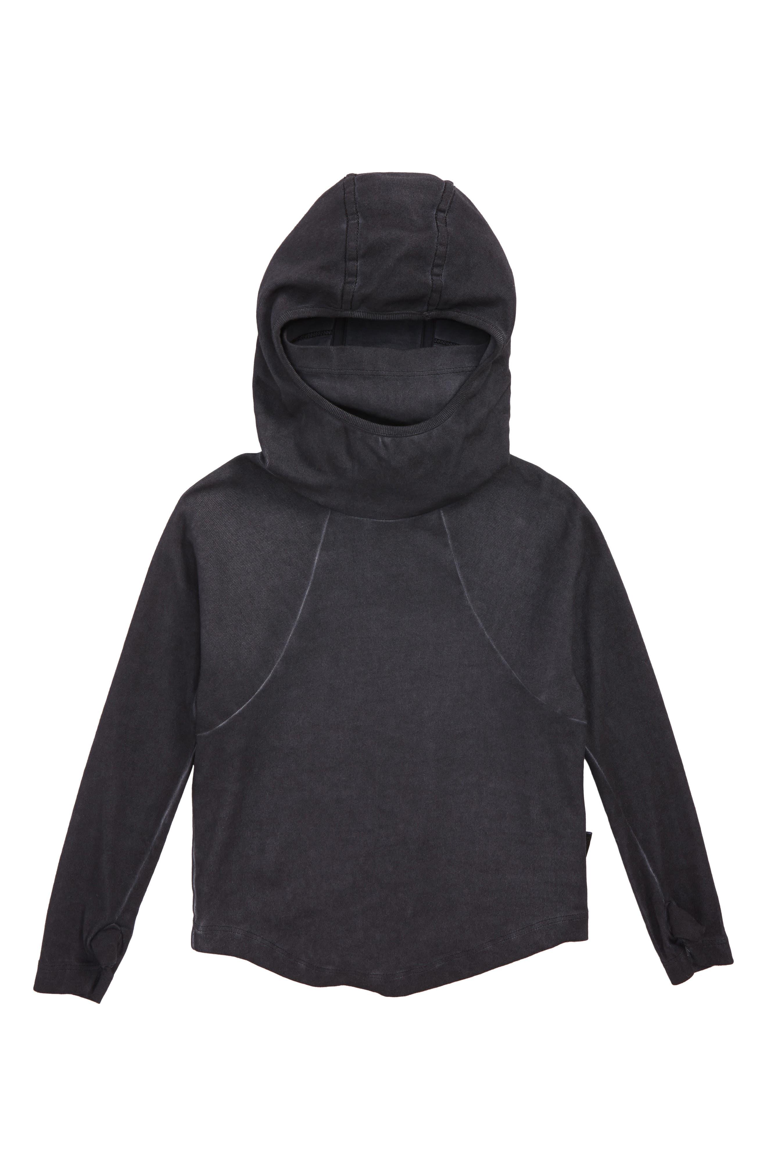 Ninja Hooded Shirt,                         Main,                         color, DYED BLACK