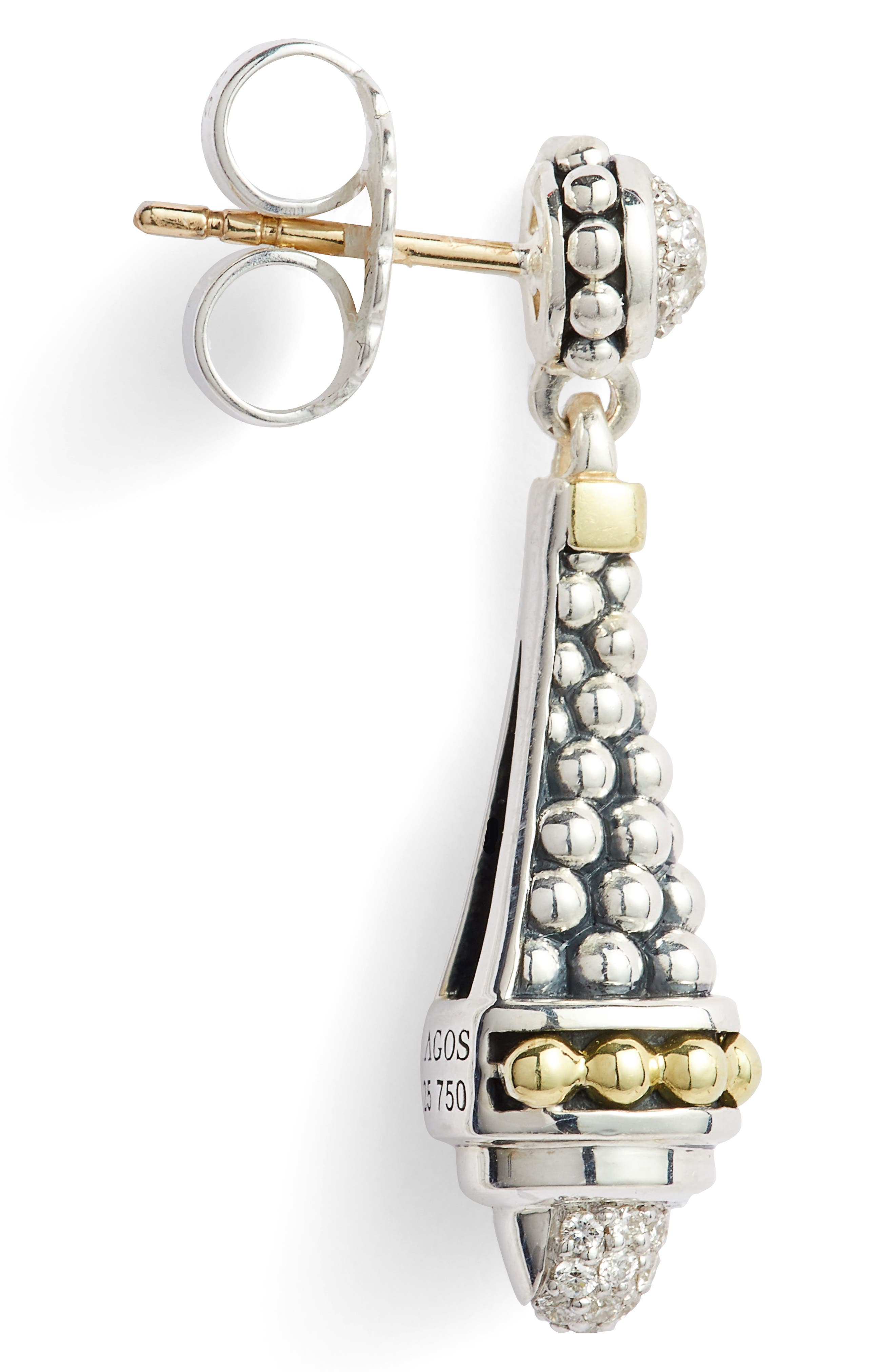 Signature Caviar Diamond Pavé Cap Drop Earrings,                             Alternate thumbnail 5, color,                             SILVER/ DIAMOND