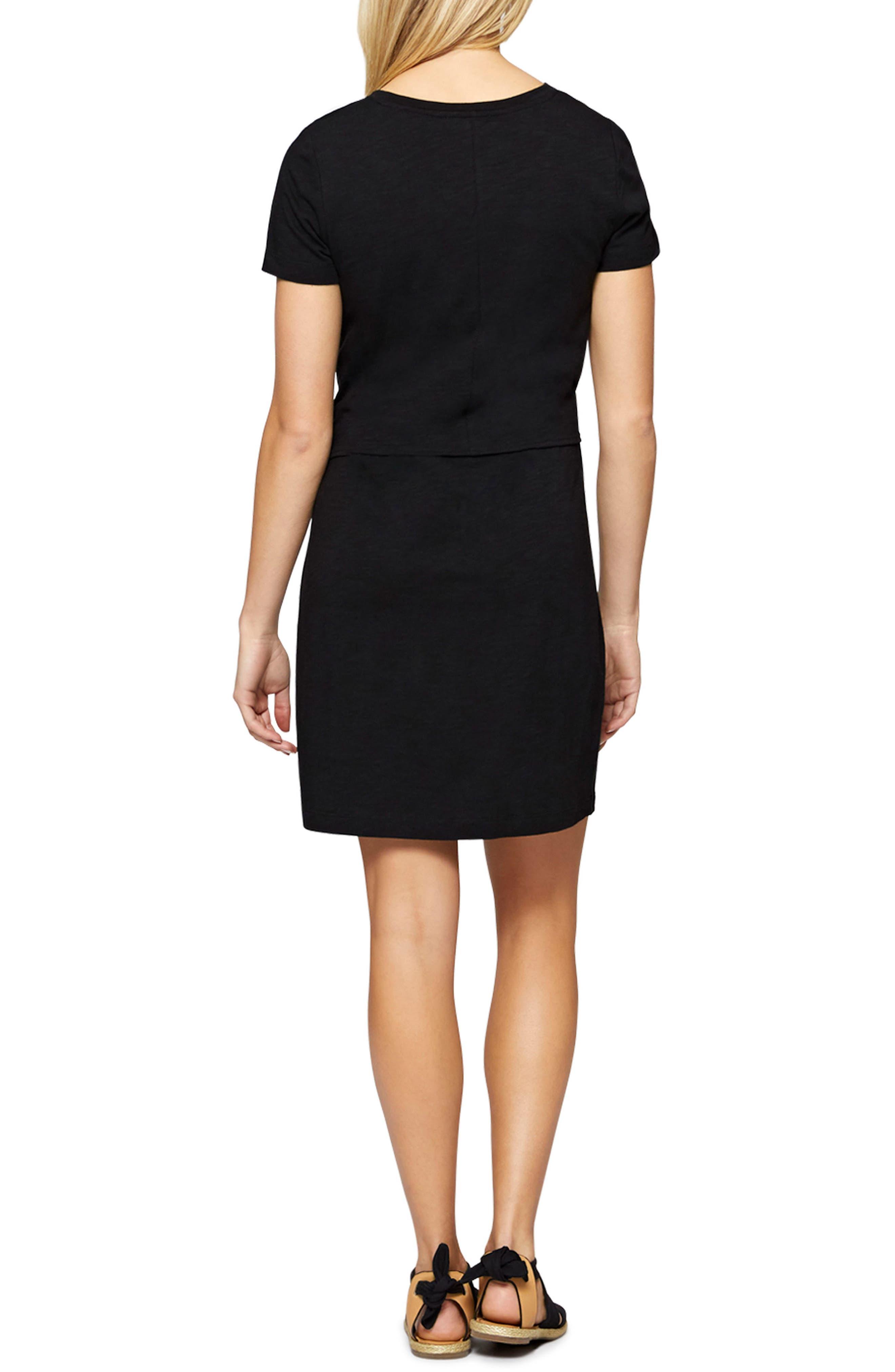 Juno Tie Waist T-Shirt Dress,                             Alternate thumbnail 2, color,                             001