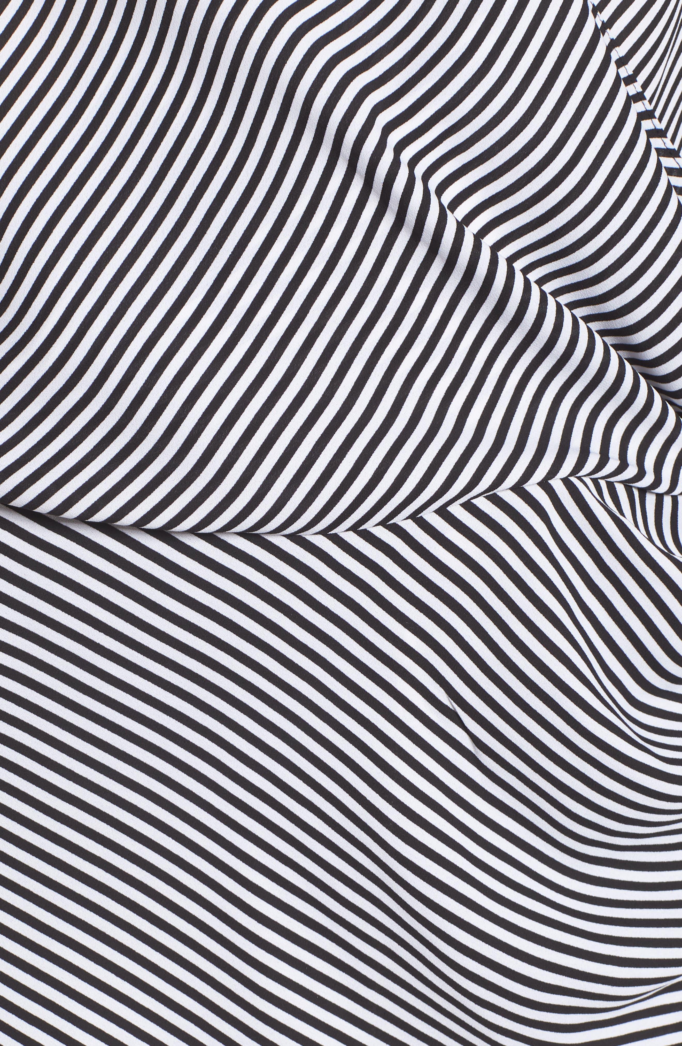 Long Sleeve Wrap Blouse,                             Alternate thumbnail 5, color,                             BLACK- WHITE STRIPE
