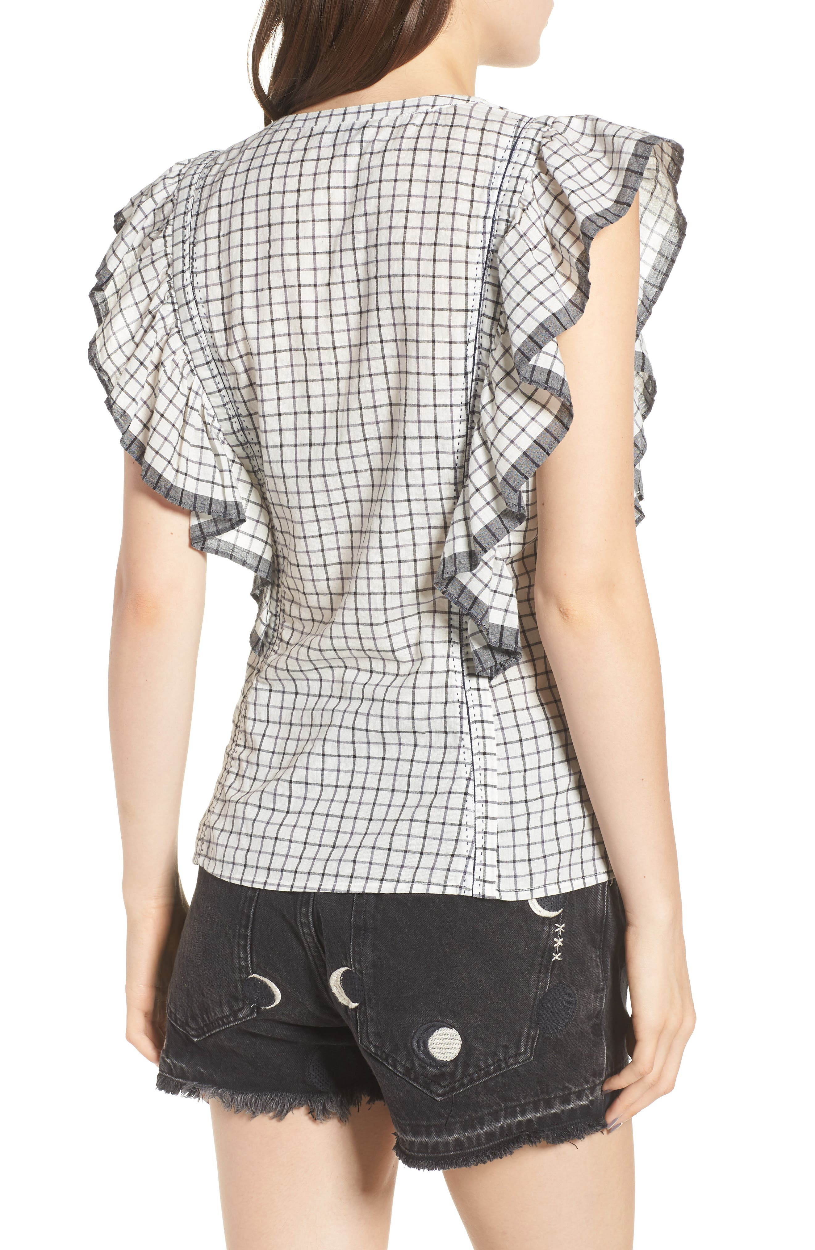 Ruffle Check Top,                             Alternate thumbnail 2, color,