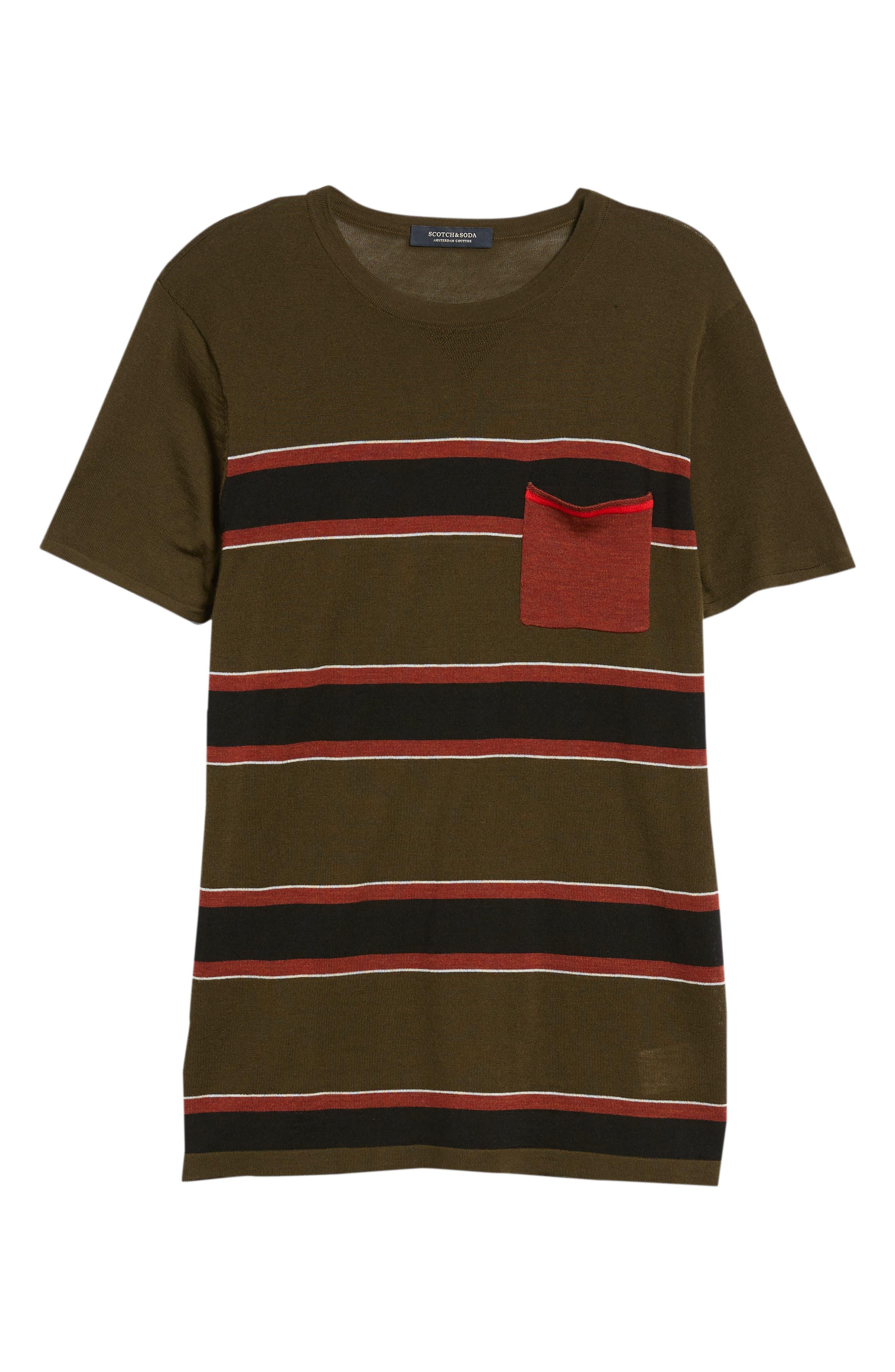 Stripe Merino Wool Pocket T-Shirt,                             Alternate thumbnail 6, color,                             COMBO B