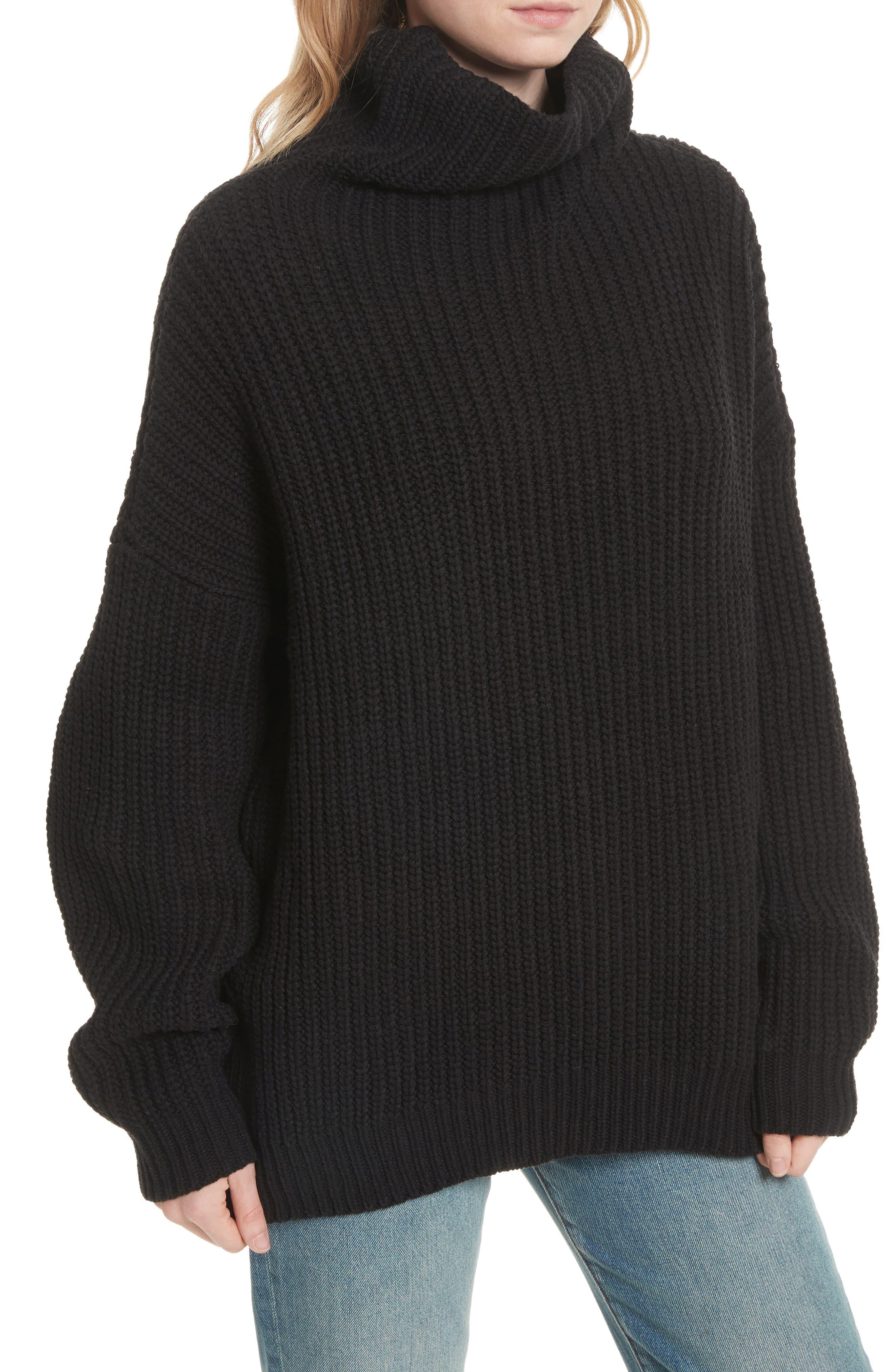 Swim Too Deep Turtleneck Sweater,                             Alternate thumbnail 4, color,                             001