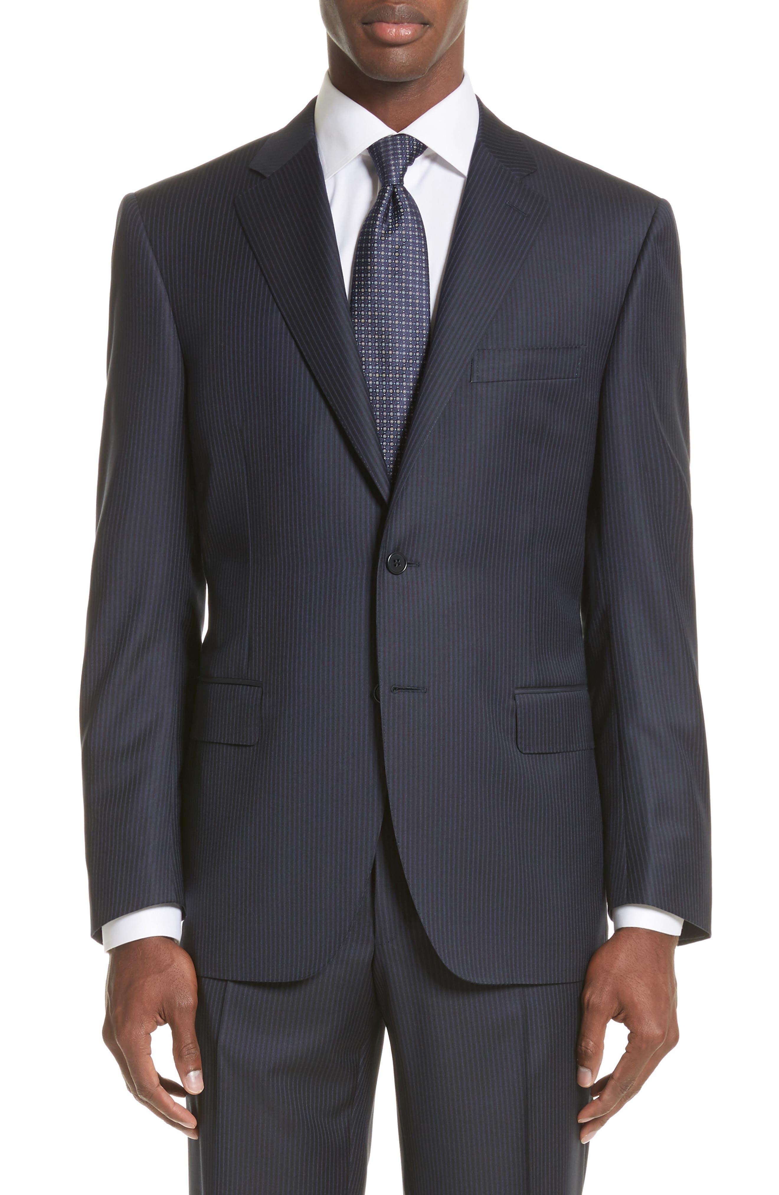 Classic Fit Stripe Wool Suit,                             Alternate thumbnail 5, color,                             410
