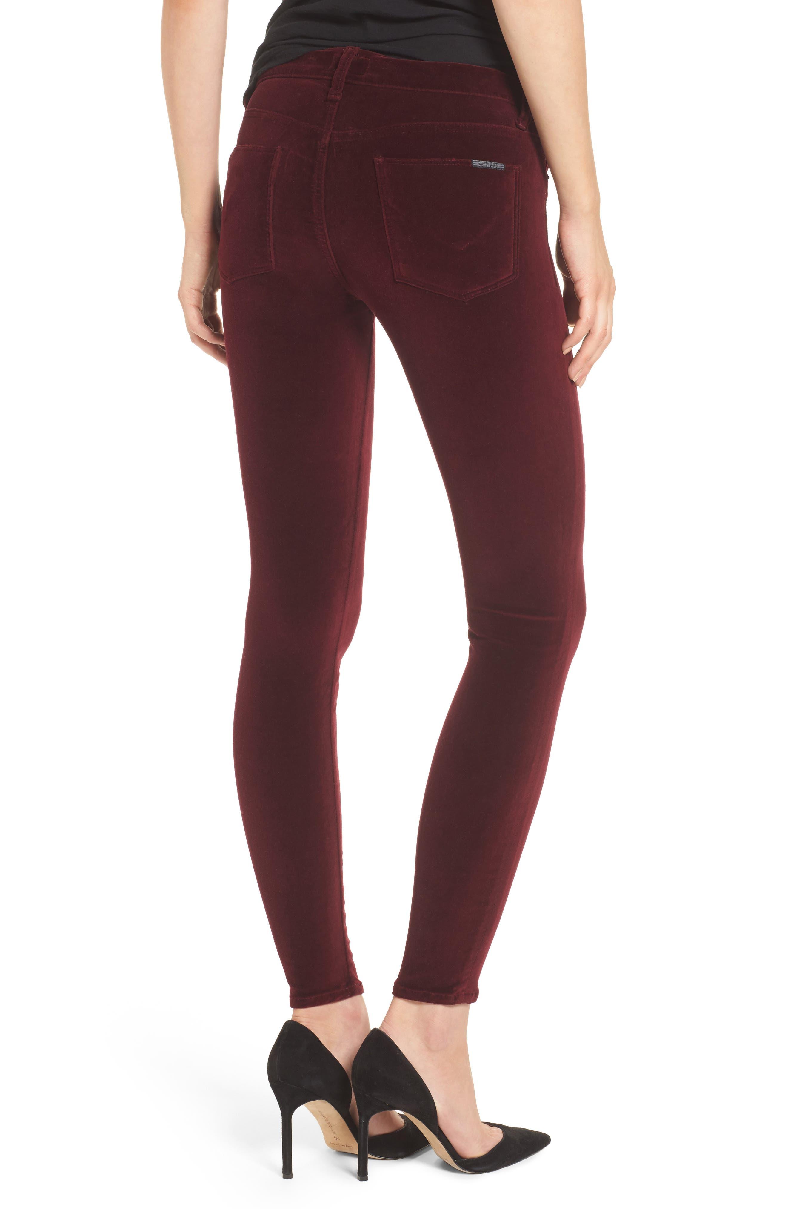 Nico Ankle Skinny Velvet Pants,                             Alternate thumbnail 4, color,