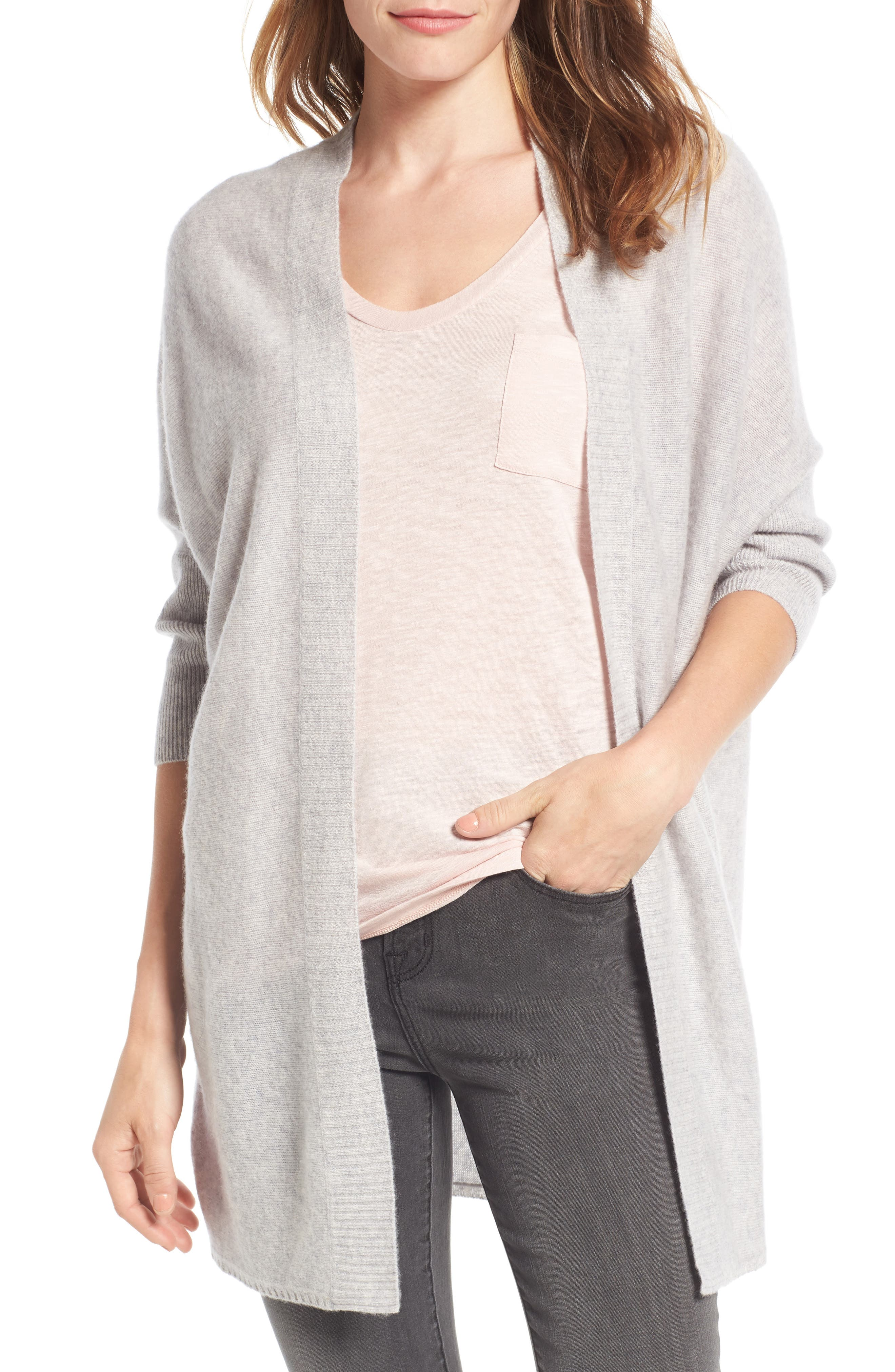 Three-Quarter Sleeve Cashmere Cardigan,                             Main thumbnail 3, color,