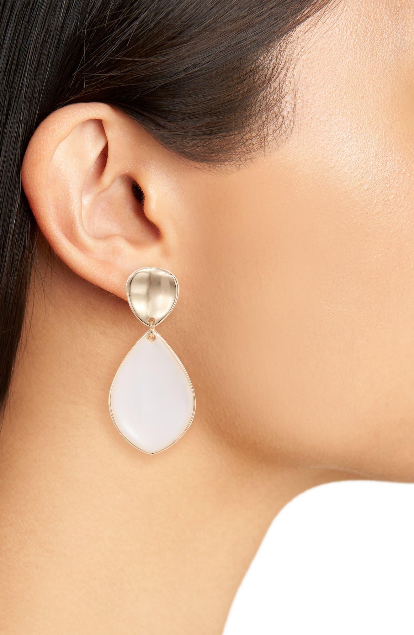 Painted Petal Double Drop Earrings,                             Alternate thumbnail 4, color,