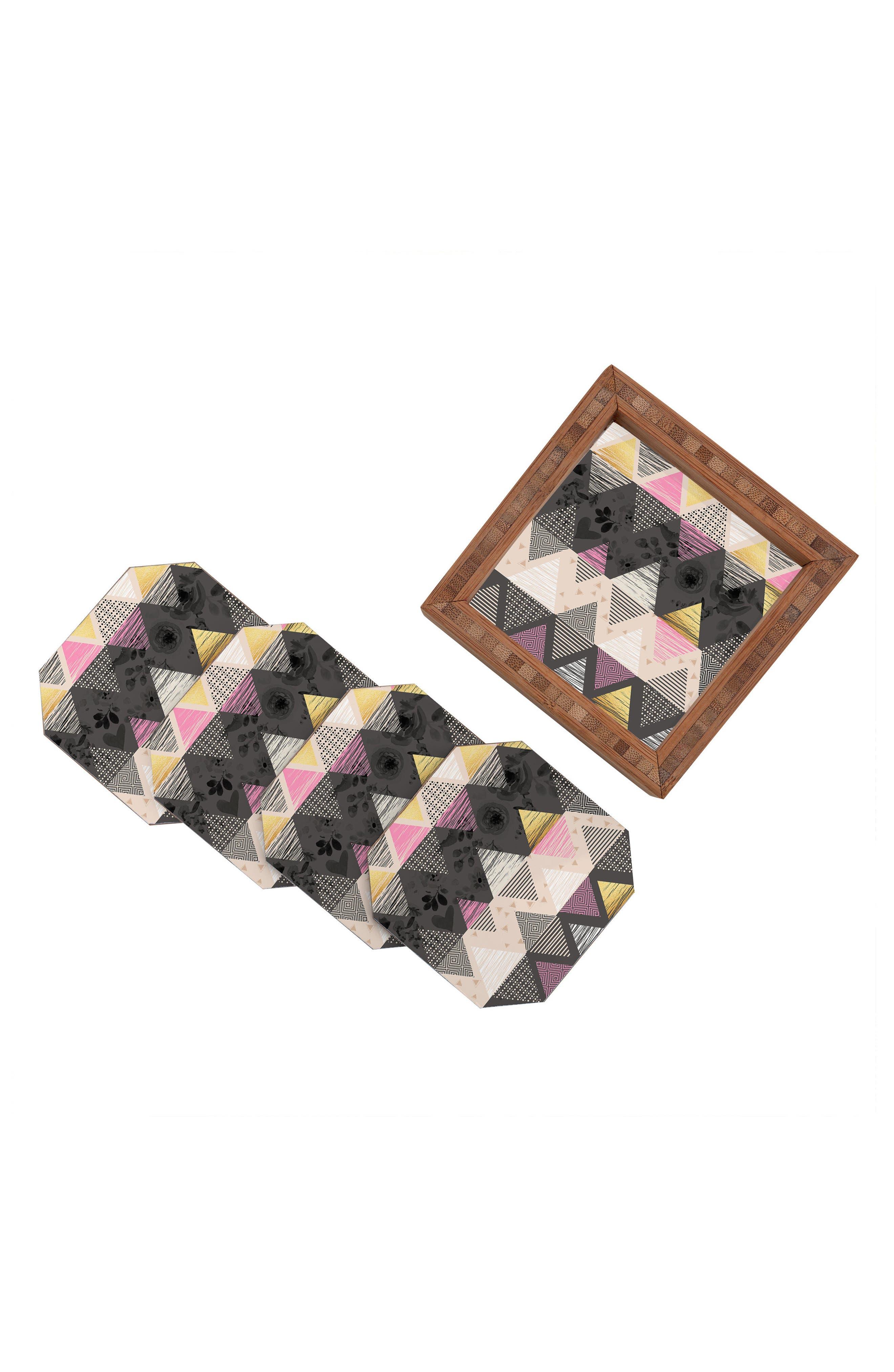 Geometric Set of 4 Coasters,                             Alternate thumbnail 2, color,                             001