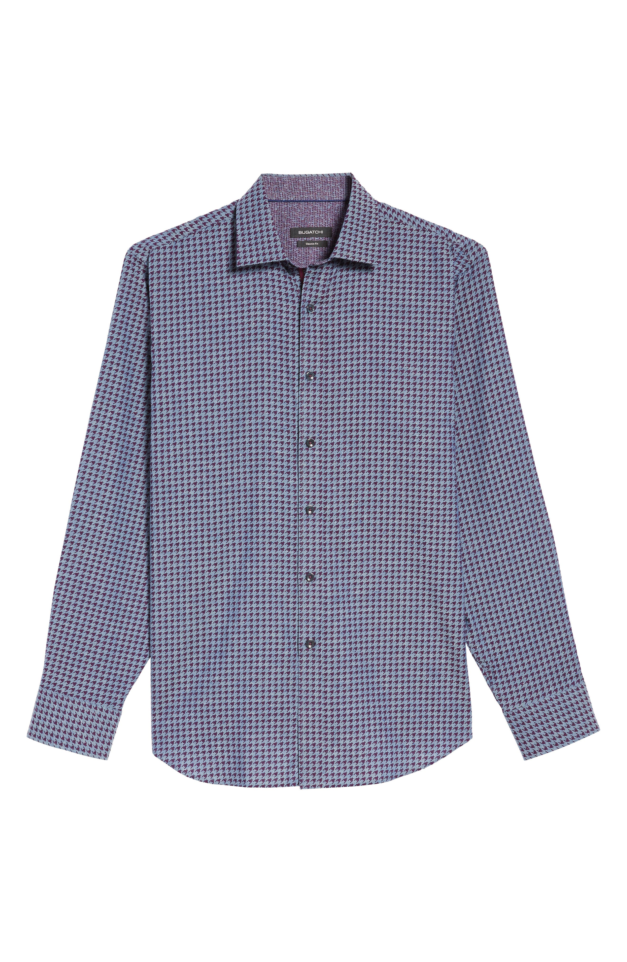 Classic Fit Houndstooth Print Sport Shirt,                             Alternate thumbnail 6, color,                             610