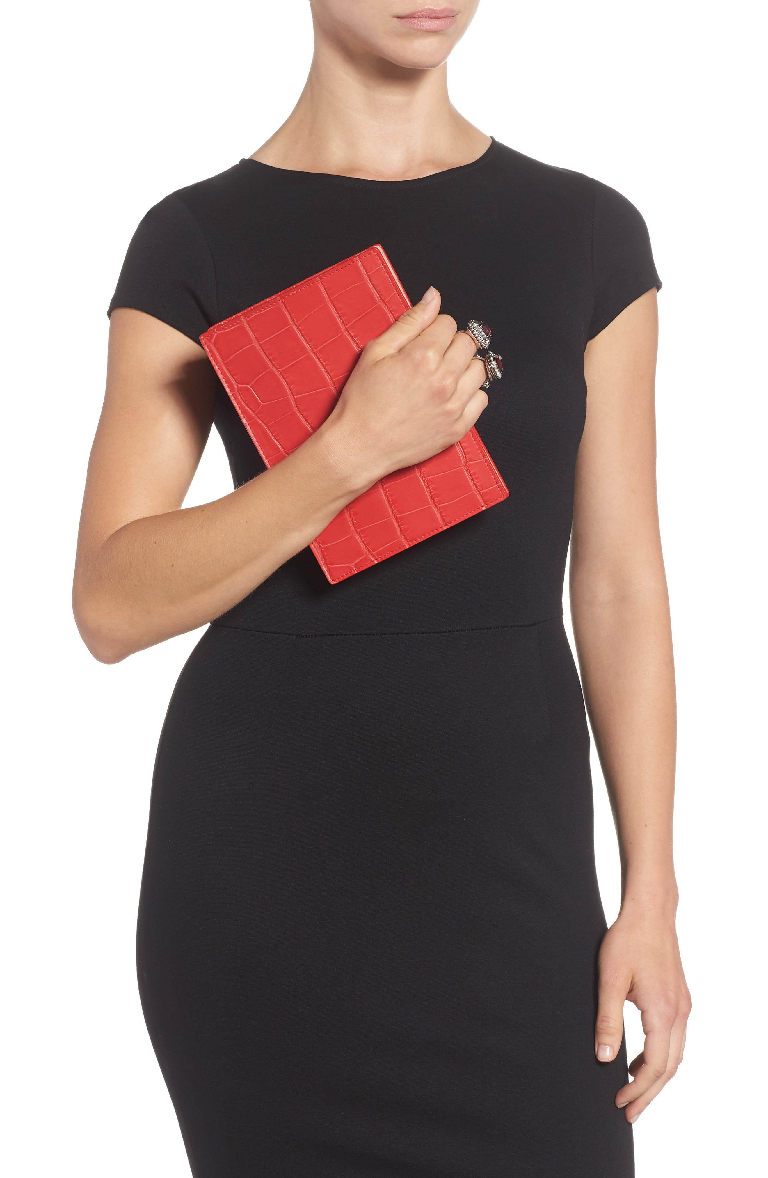 Croc Embossed Calfskin Leather Double Ring Clutch,                             Alternate thumbnail 2, color,                             LUST RED