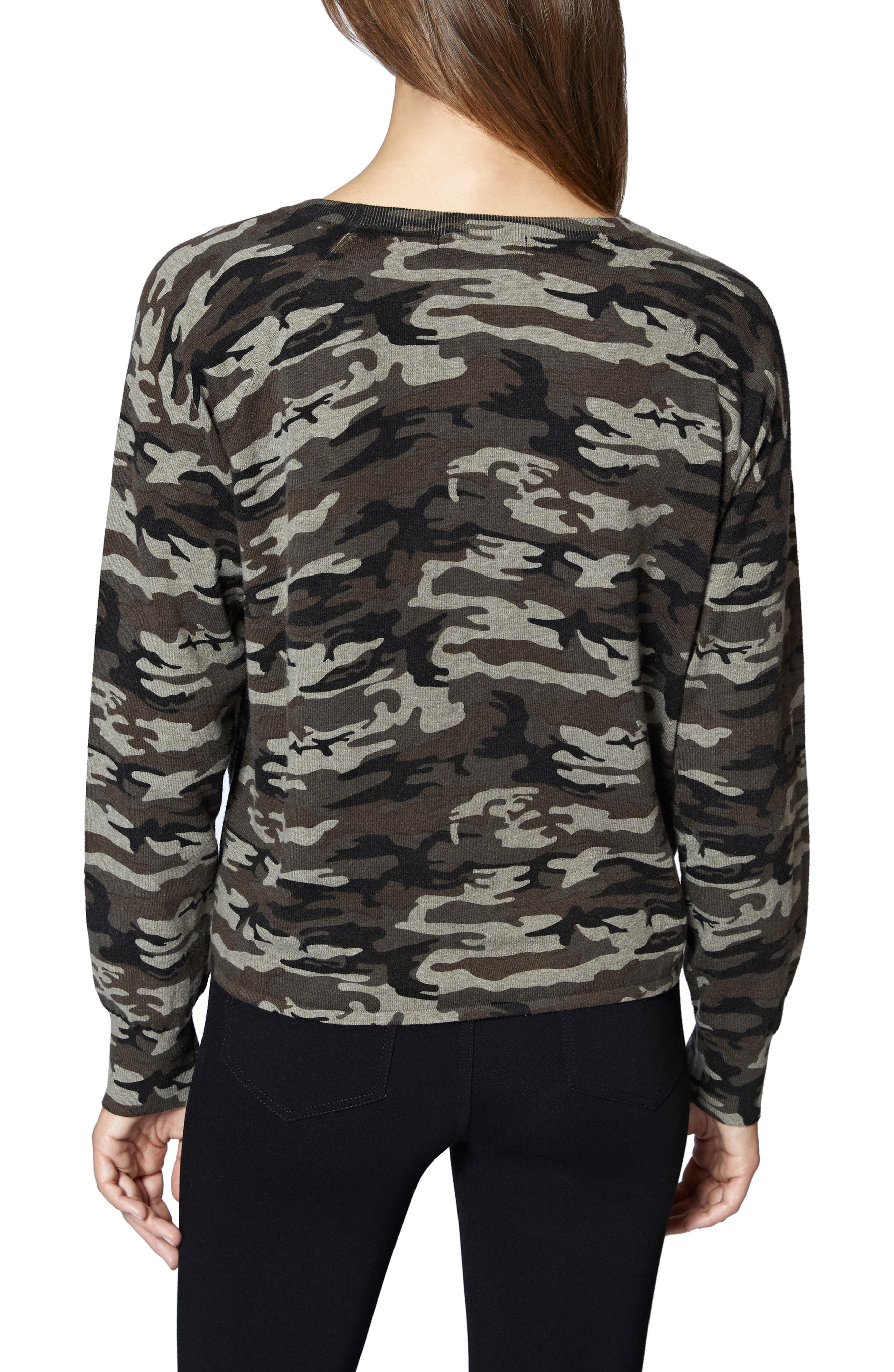 Laguna Camouflage Tie Front Top,                             Alternate thumbnail 2, color,                             HUMAN NATURE CAMO