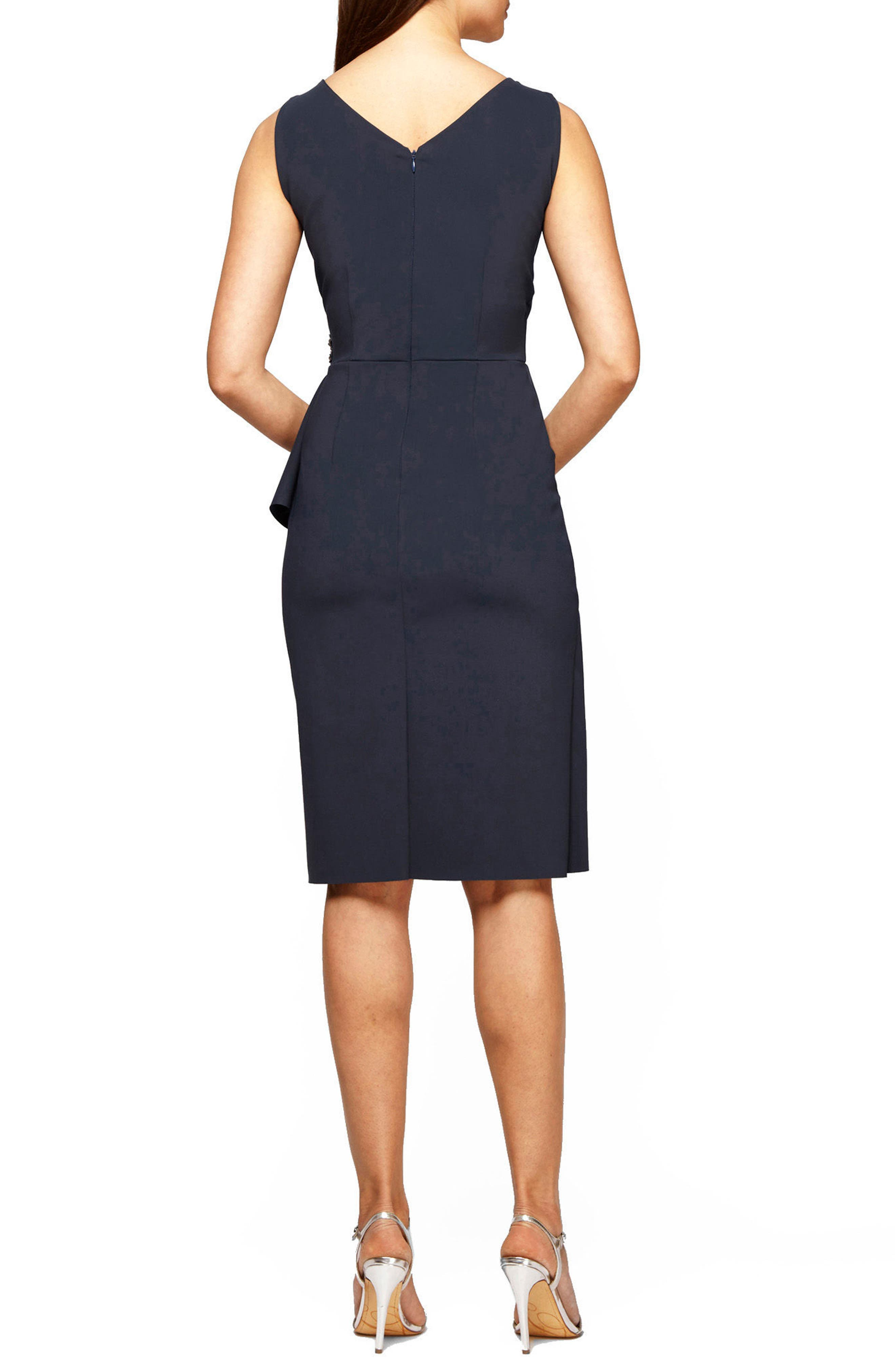 ALEX EVENINGS,                             Side Ruched Dress,                             Alternate thumbnail 2, color,                             CHARCOAL