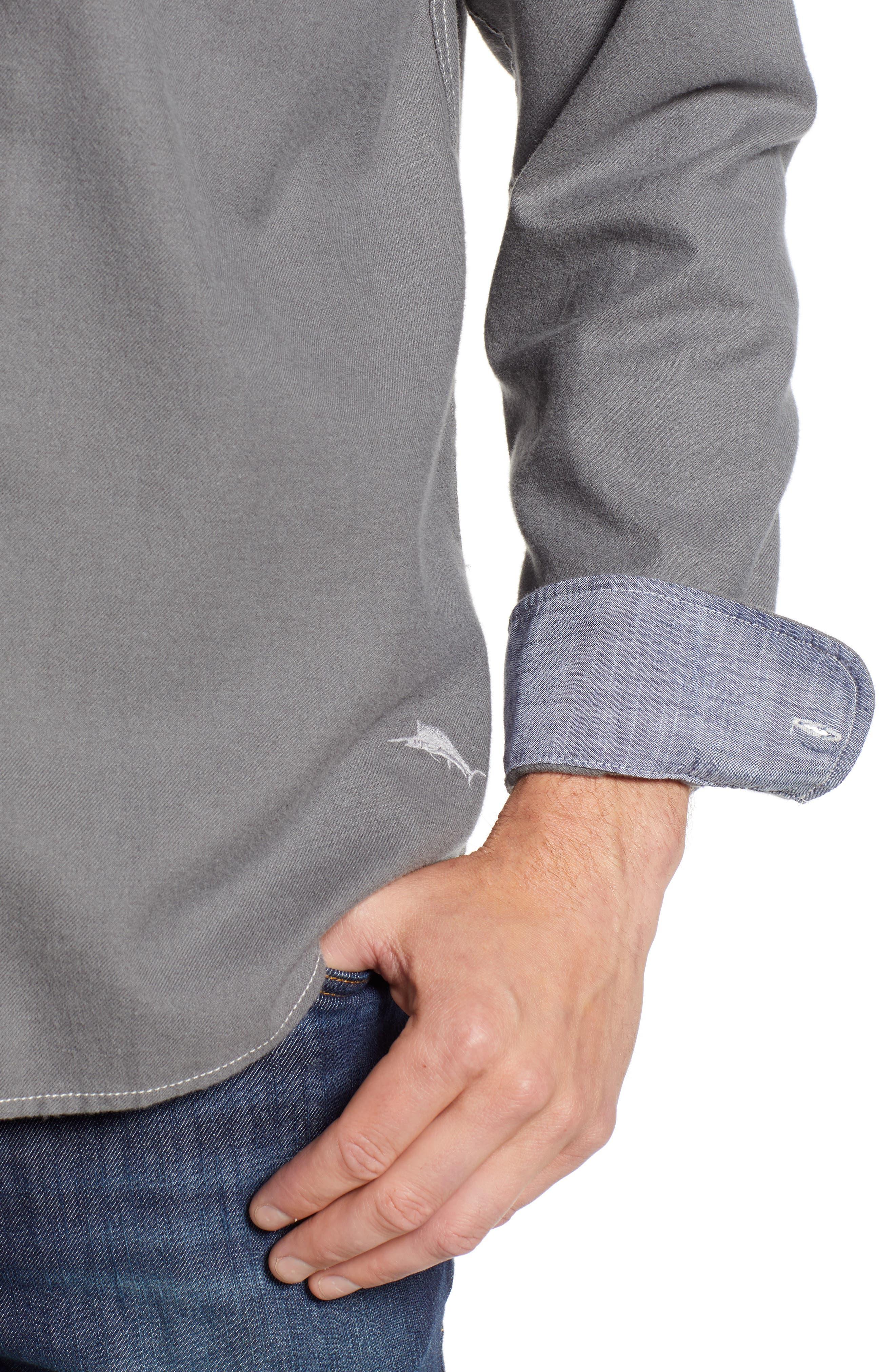 Bonfire Beach Flannel Shirt,                             Alternate thumbnail 4, color,                             CAVE