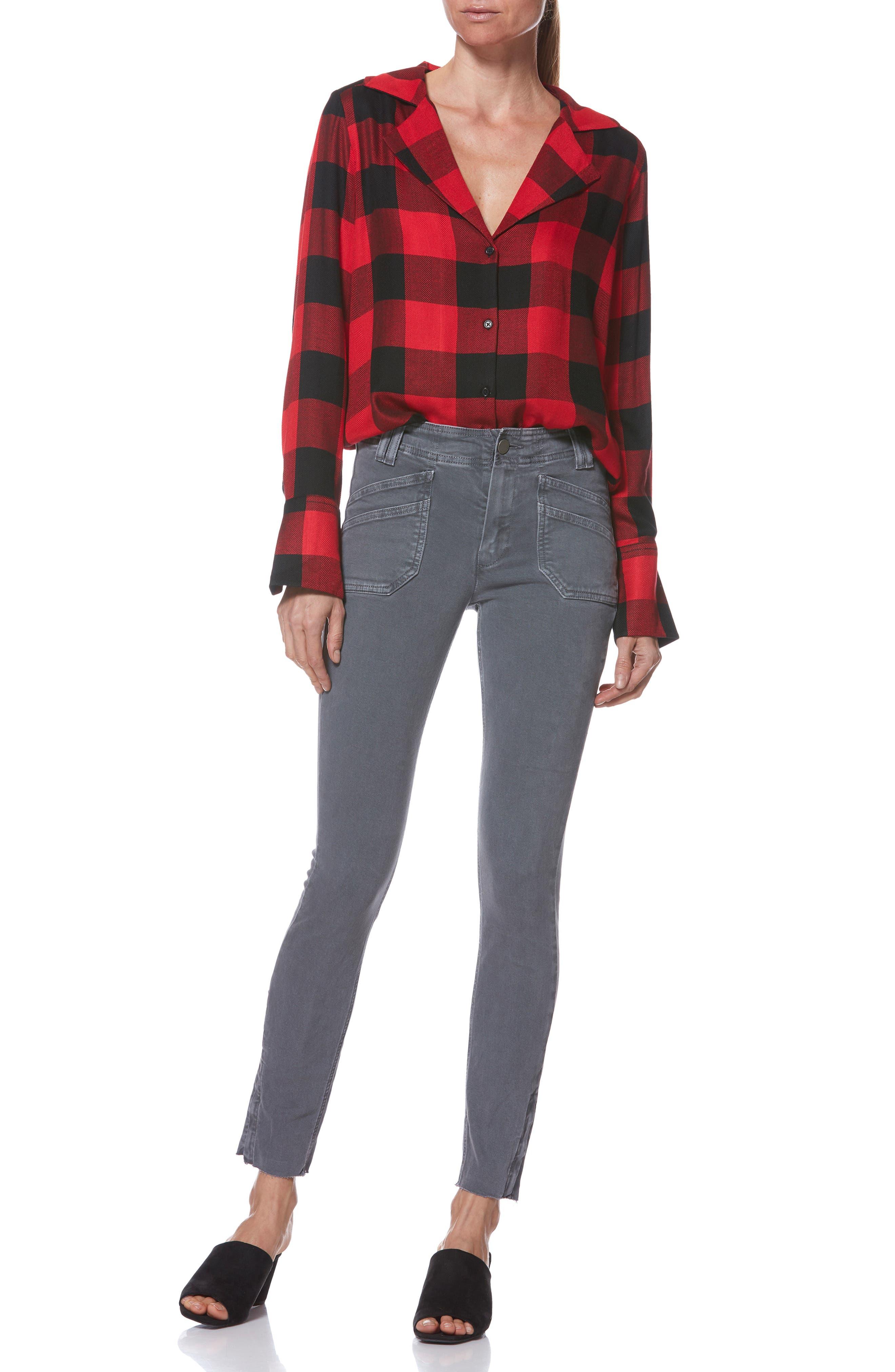 PAIGE,                             Elora Shirt,                             Alternate thumbnail 7, color,                             TRUE RED / BLACK