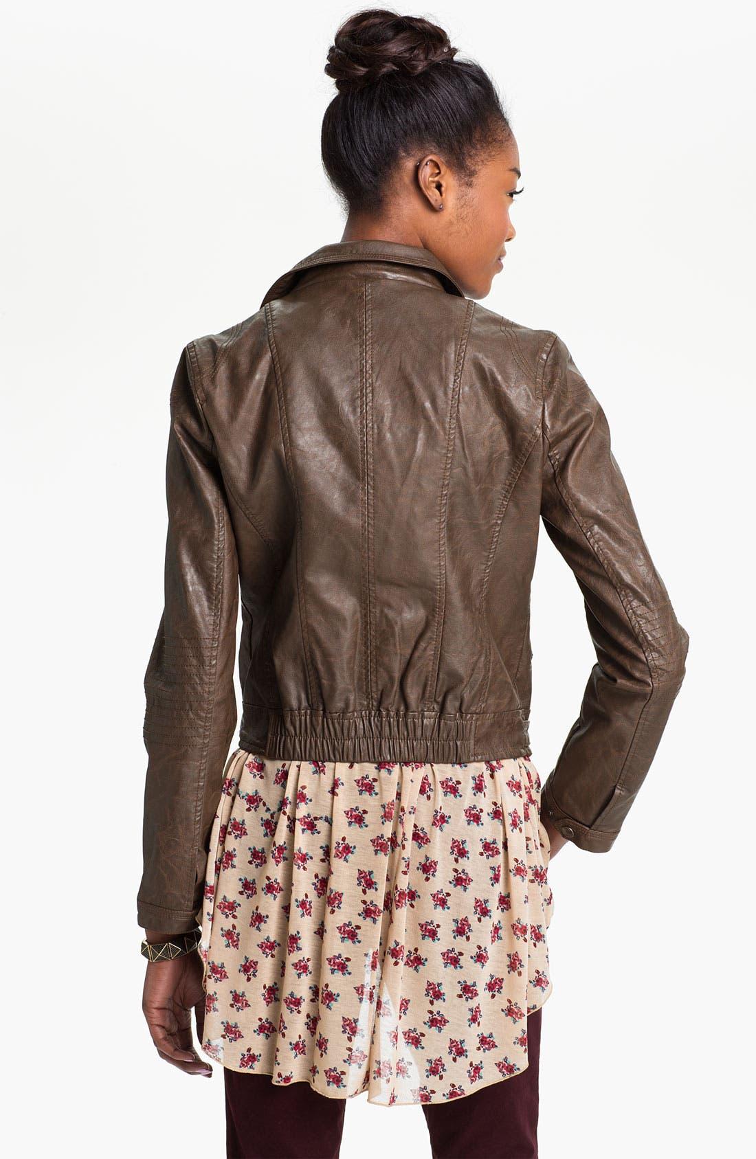 COFFEE SHOP,                             Vintage Faux Leather Moto Jacket,                             Alternate thumbnail 2, color,                             204