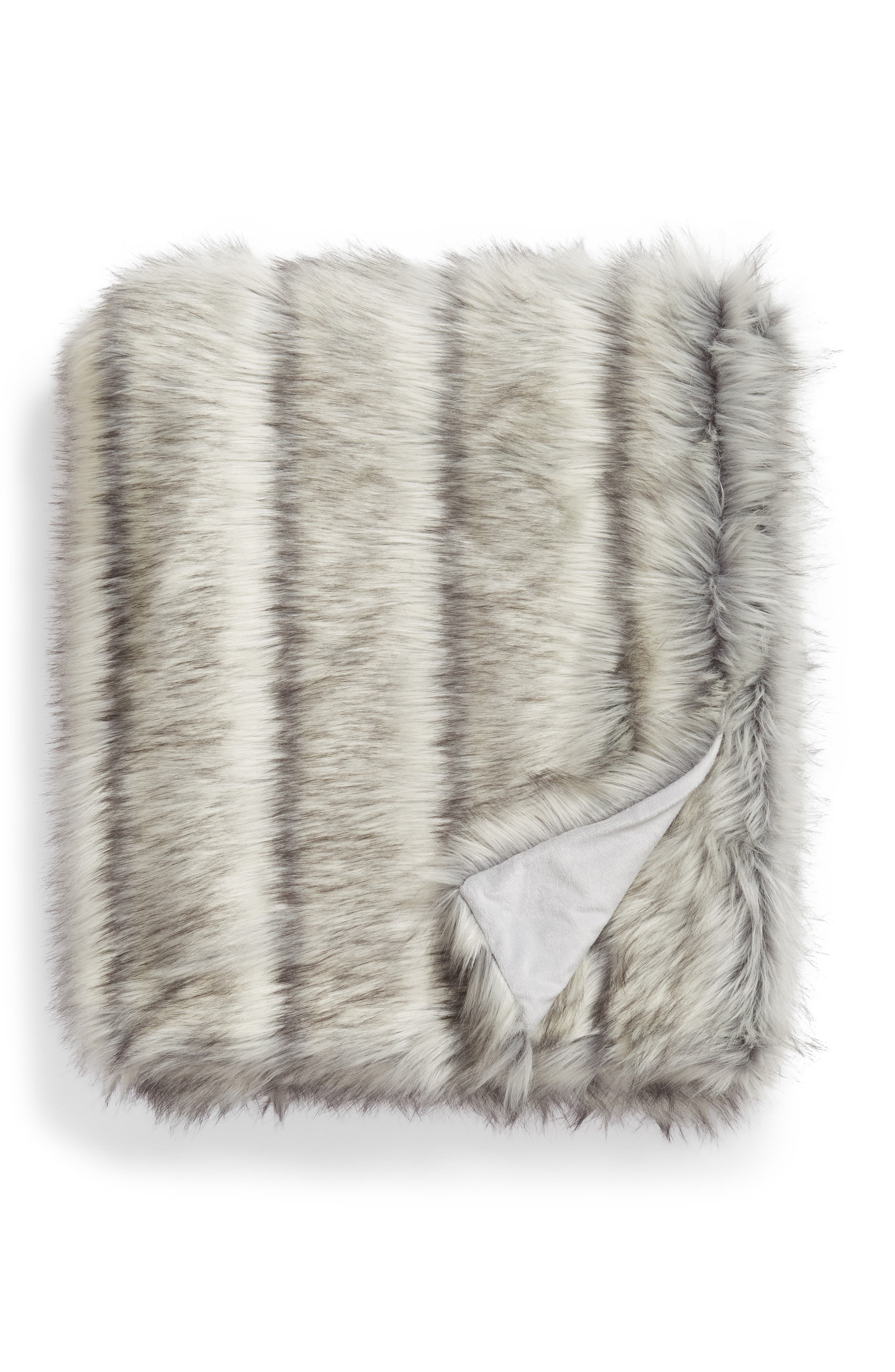 Luxe Faux Fur Stripe Throw Blanket, Main, color, GREY FROST MULTI