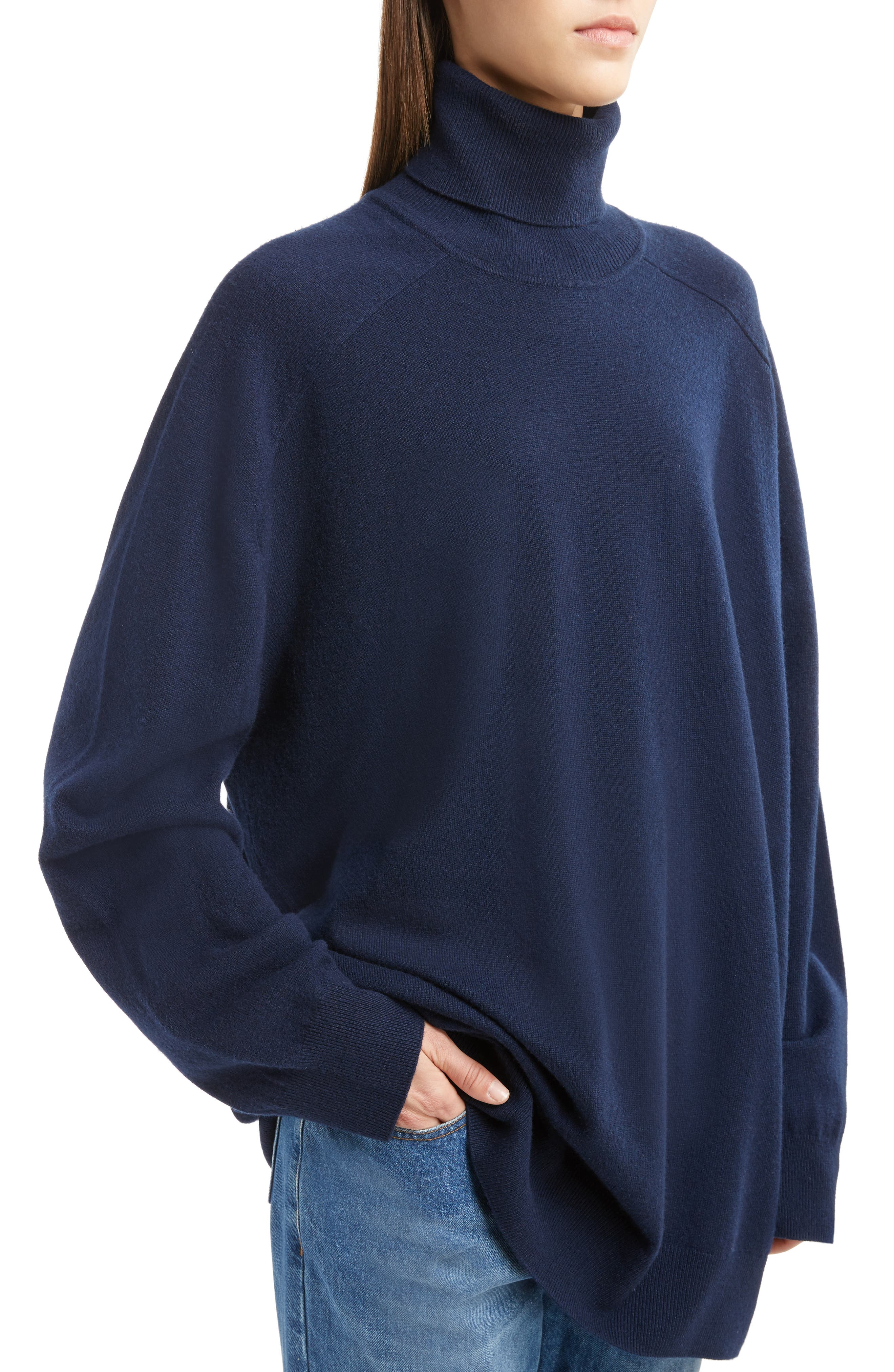 Oversized Cashmere Turtleneck Sweater,                             Alternate thumbnail 8, color,