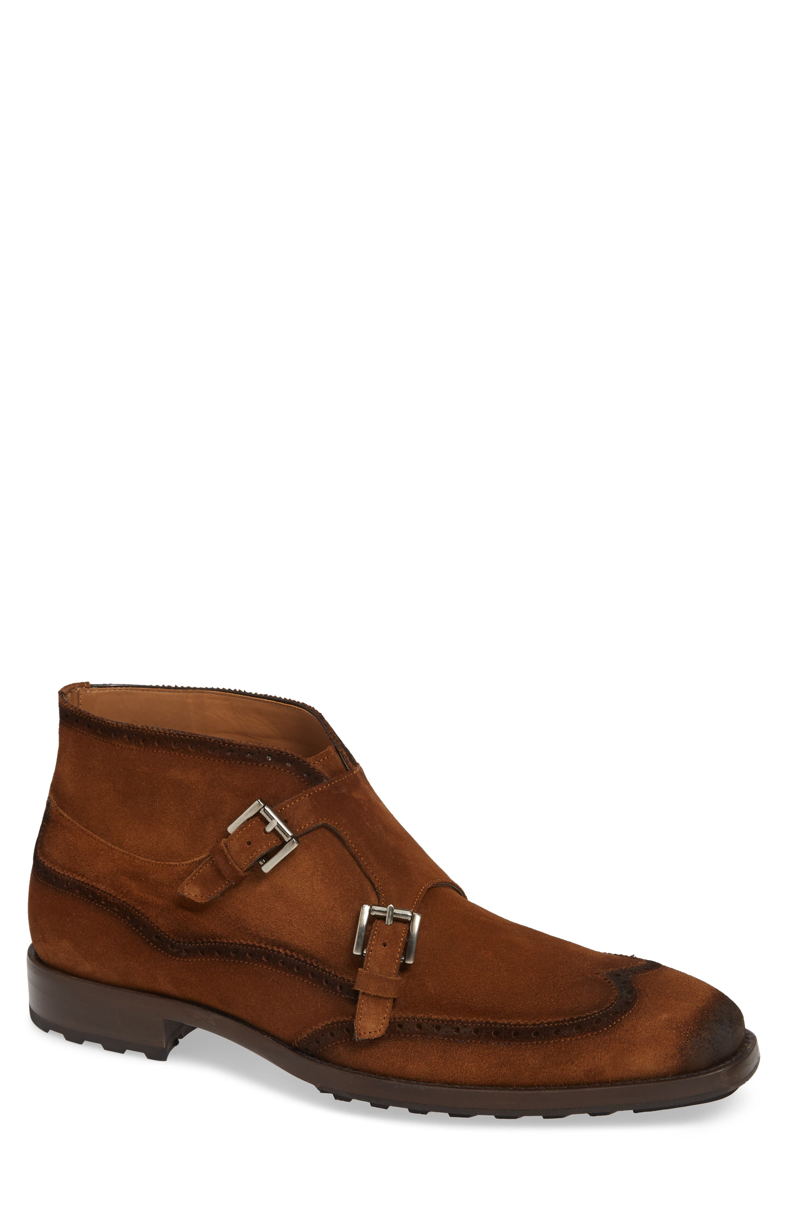 Mezlan Munoz Double Monk Strap Boot, Brown