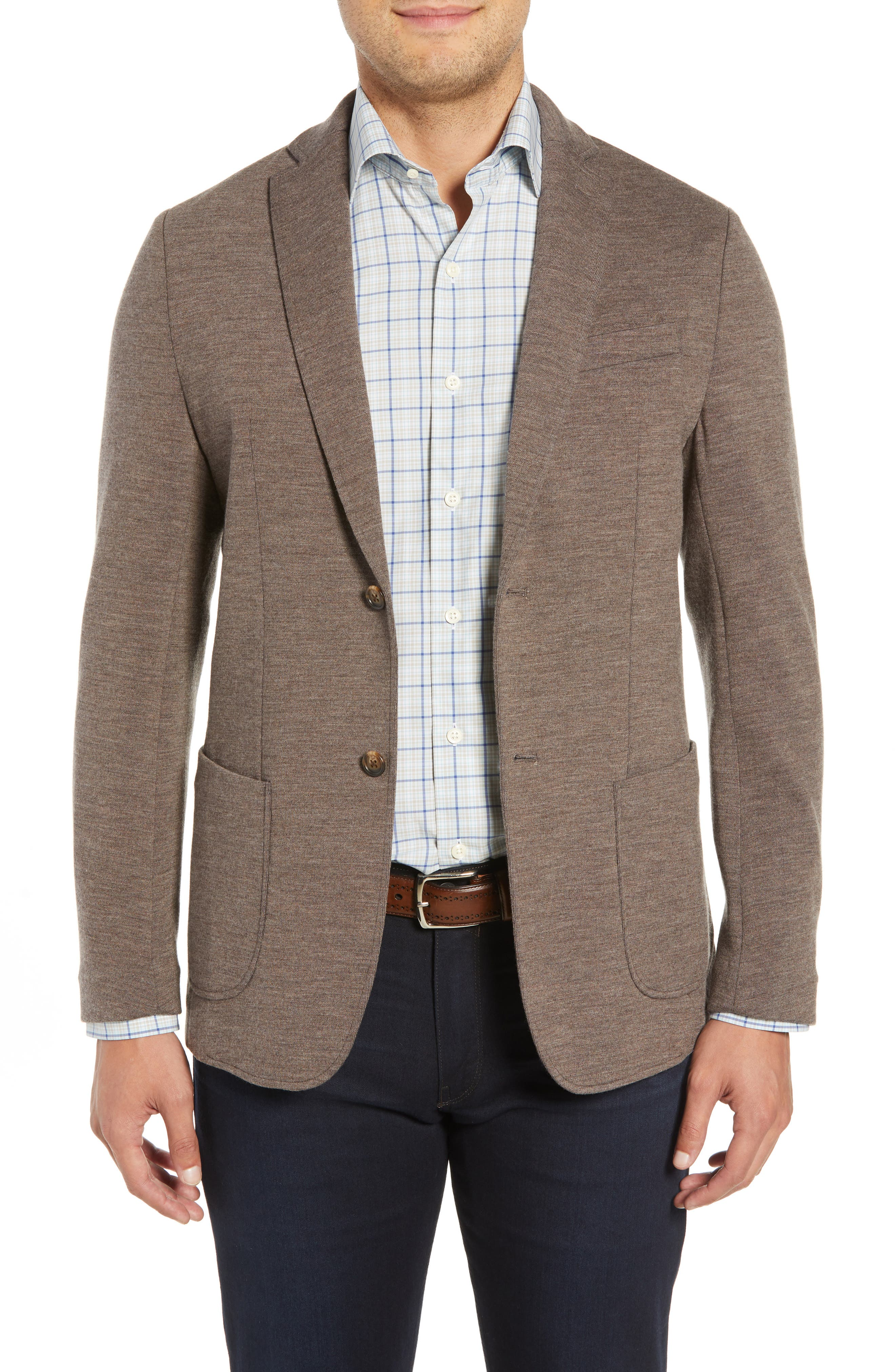 Crown Comfort Knit Blazer,                             Main thumbnail 1, color,                             COBBLESTONE