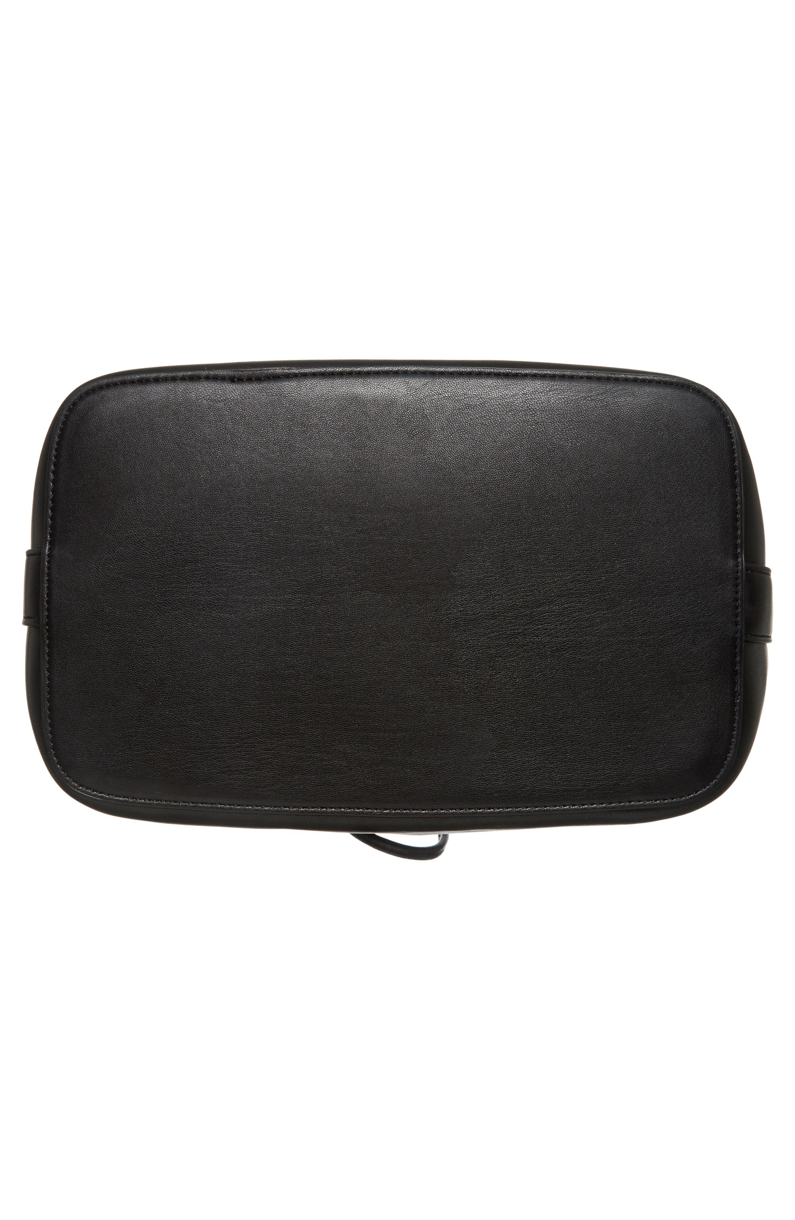 Stella Faux Leather Bucket Bag,                             Alternate thumbnail 6, color,                             001