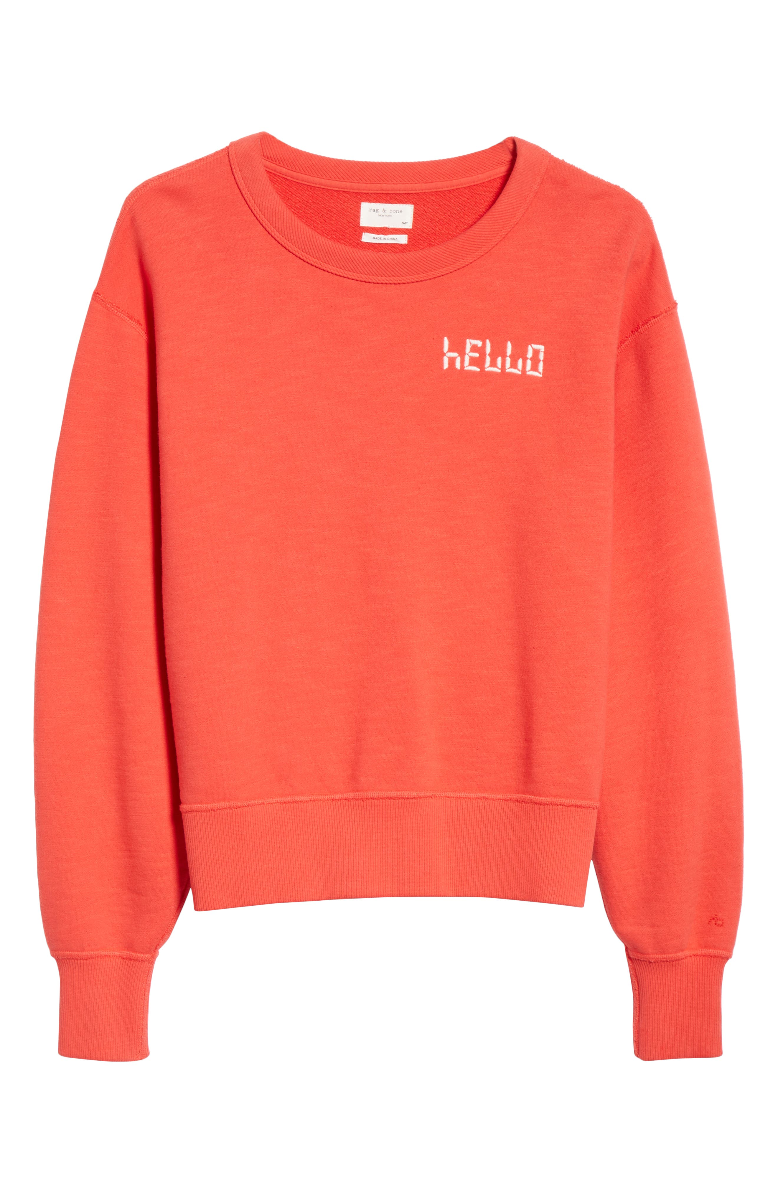 Hello Sweatshirt,                             Alternate thumbnail 6, color,                             CANDY APPLE