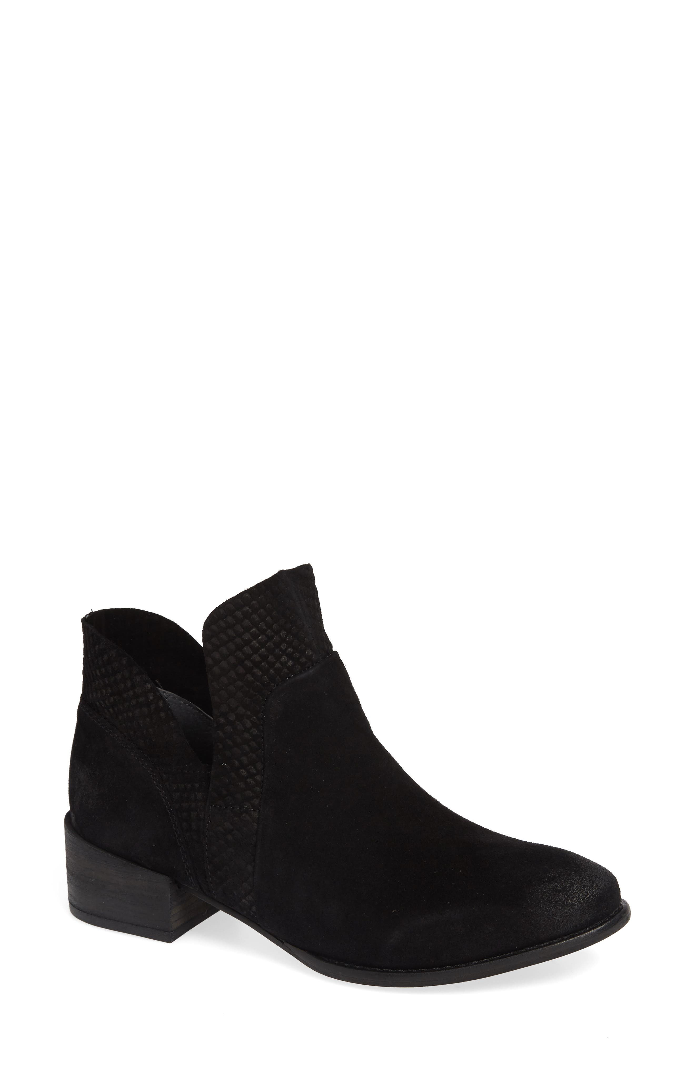 Score Bootie,                             Main thumbnail 1, color,                             BLACK SUEDE