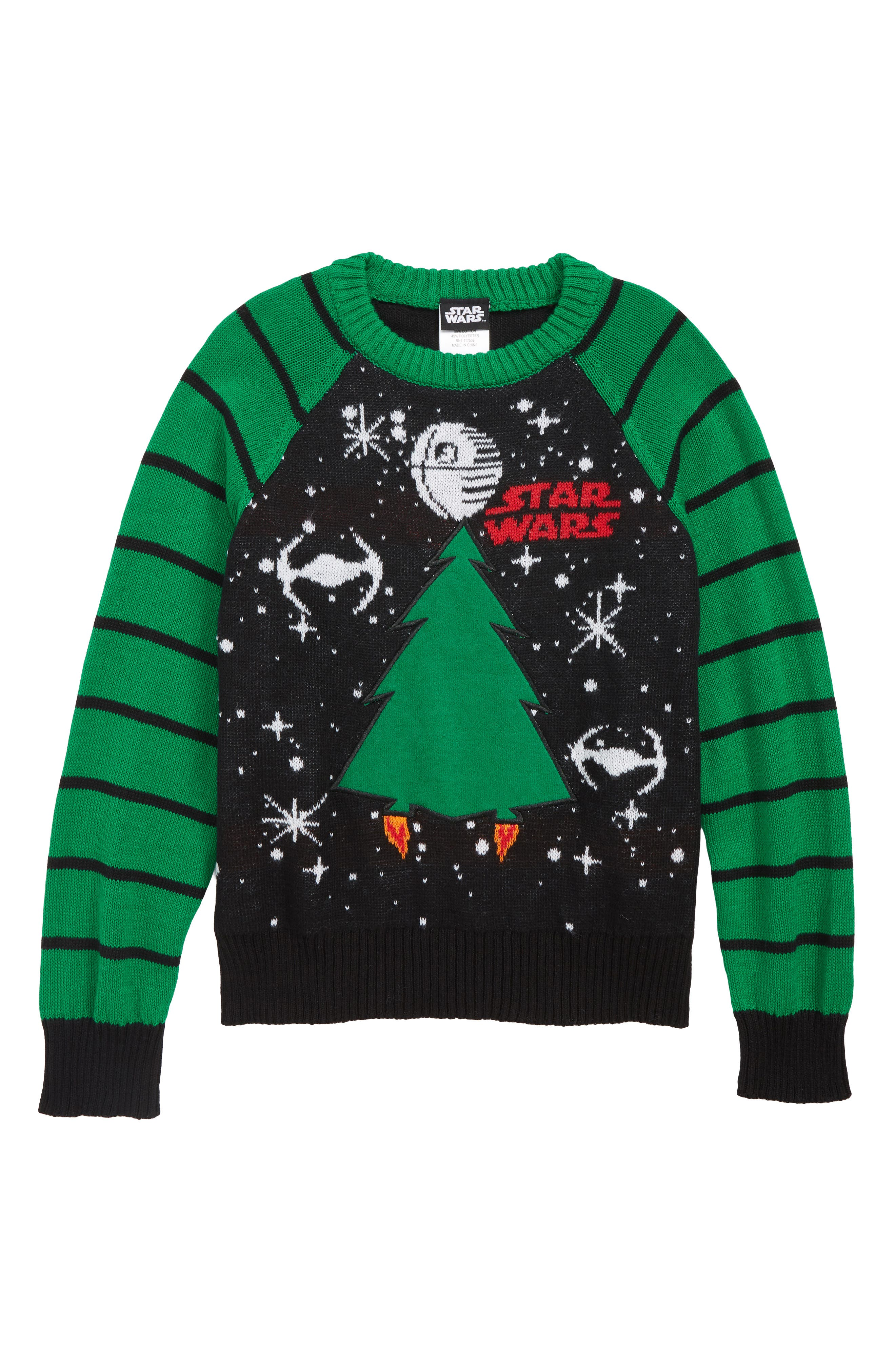 Star Wars<sup>™</sup> Removable Patch Holiday Sweater,                             Main thumbnail 1, color,                             BLACK