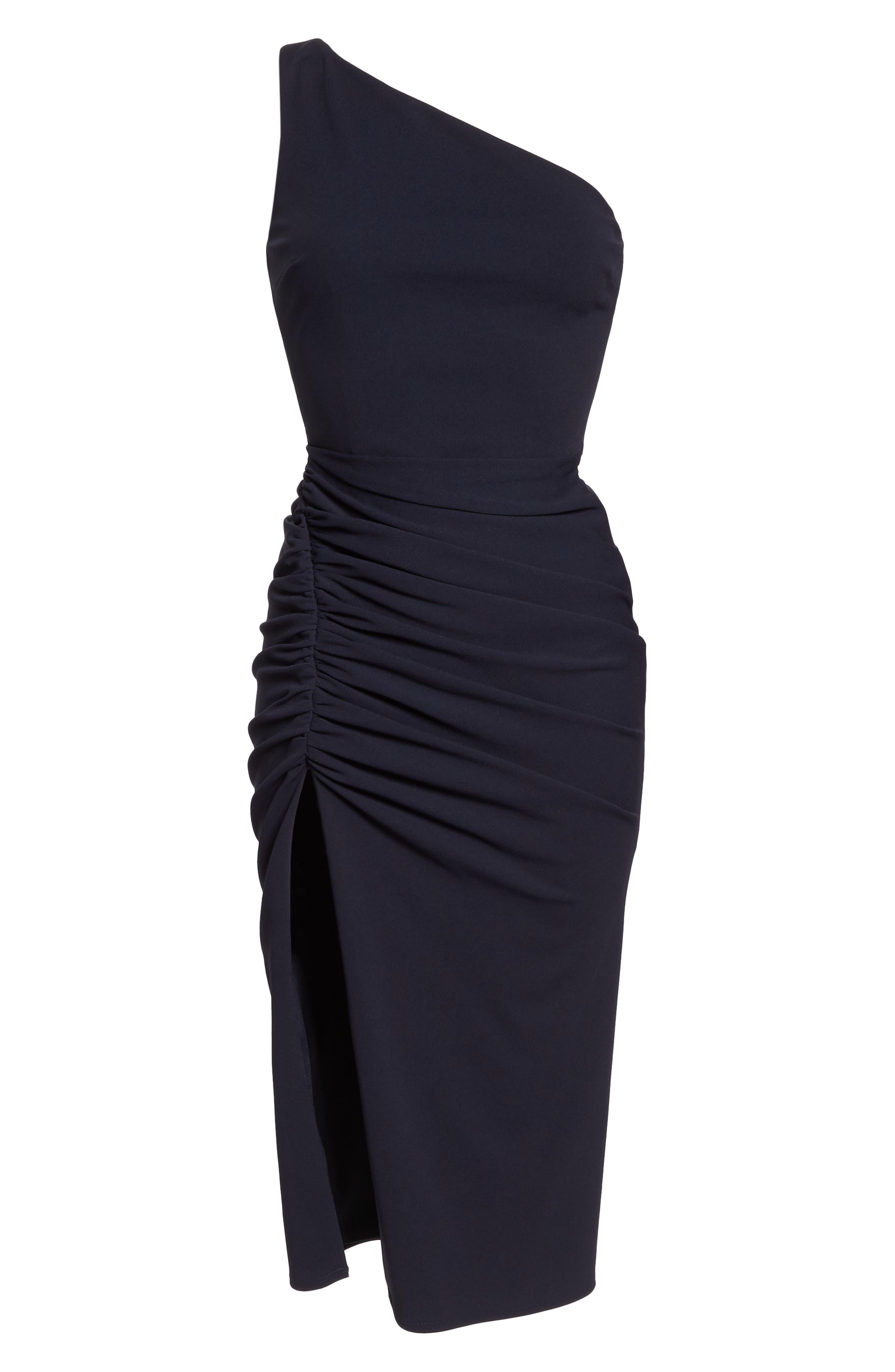 One-Shoulder Crepe Dress,                             Alternate thumbnail 7, color,                             NAVY