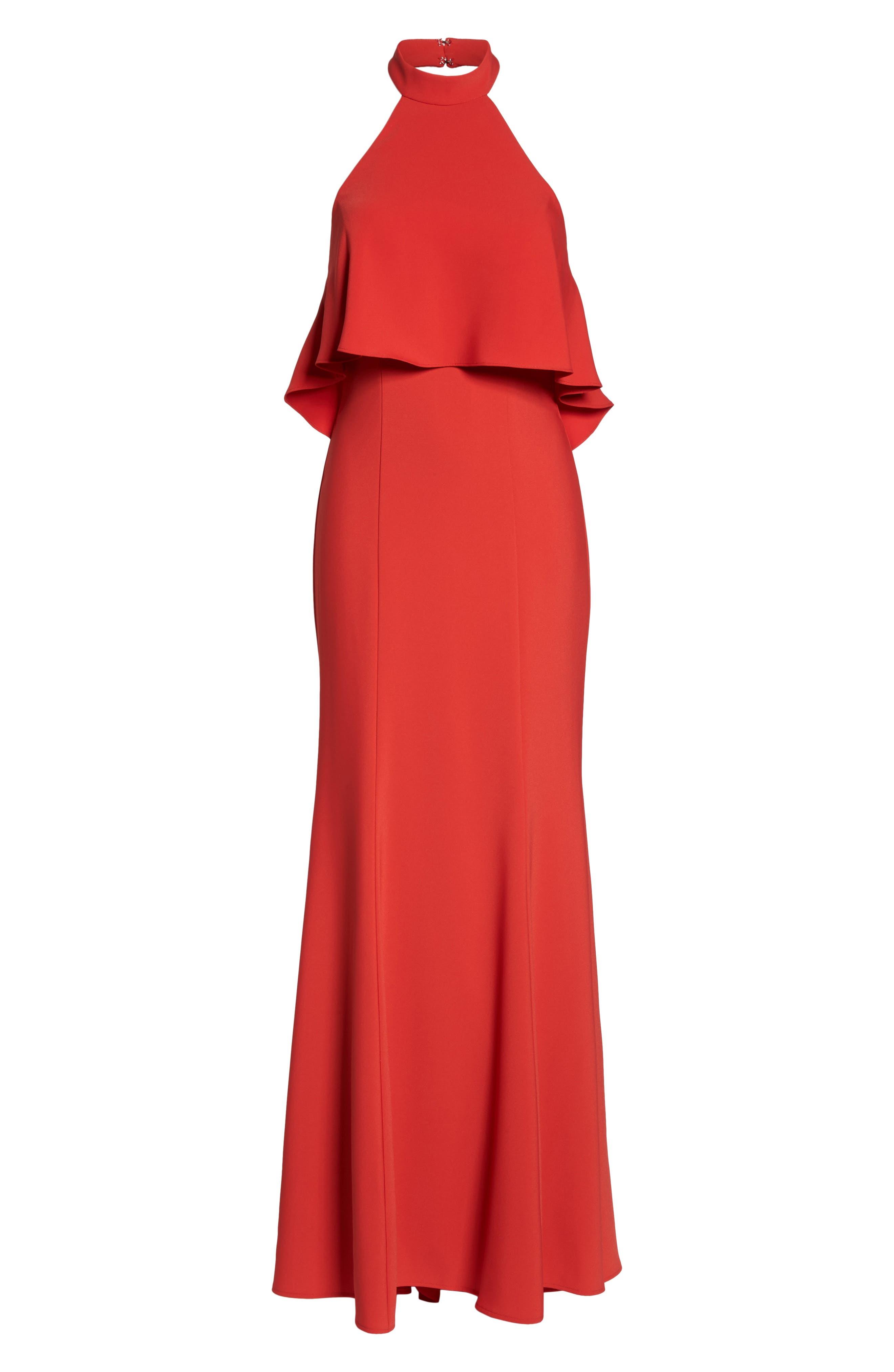 Crepe Popover Halter Gown,                             Alternate thumbnail 6, color,                             602