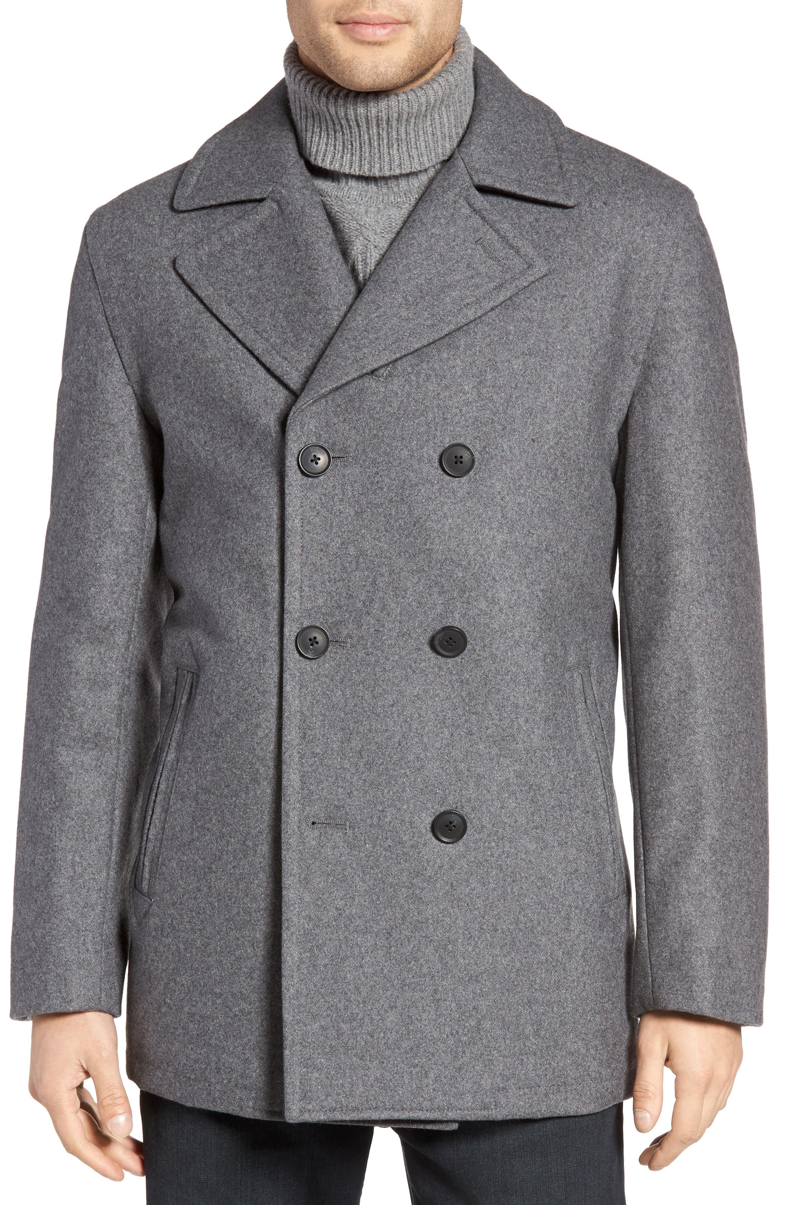 Wool Blend Double Breasted Peacoat,                             Alternate thumbnail 67, color,